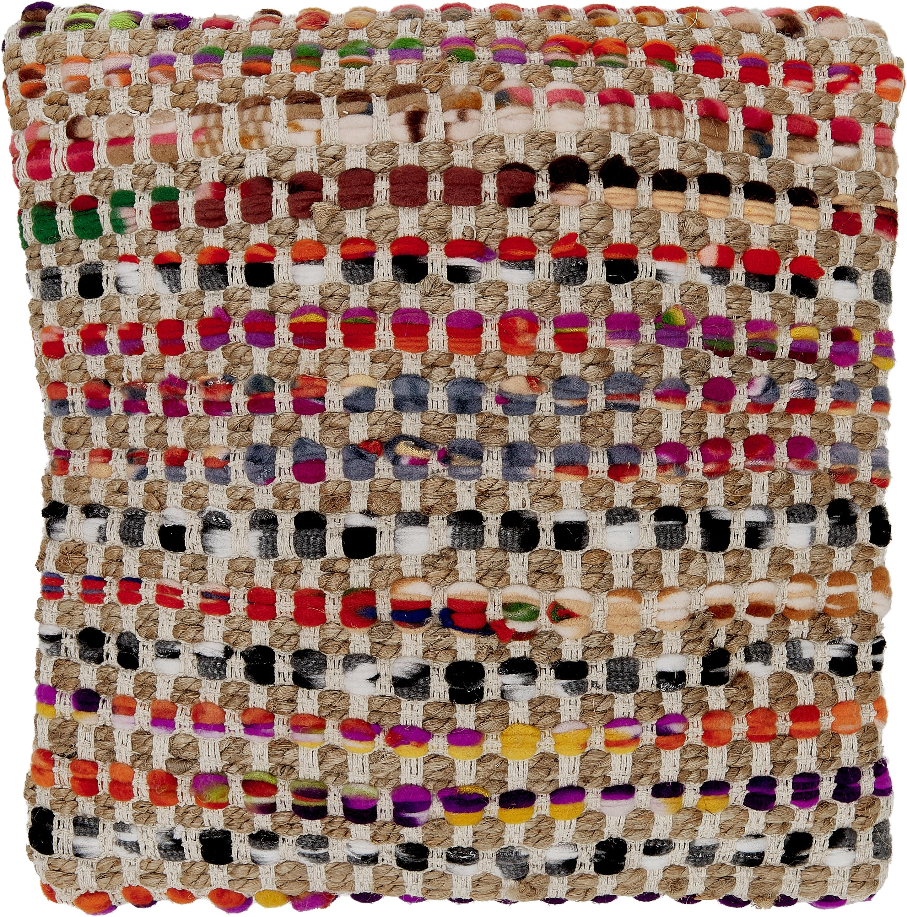 Gekleurde kussenhoes Cando van jute-mix, Jute, multicolour, 45 x 45 cm