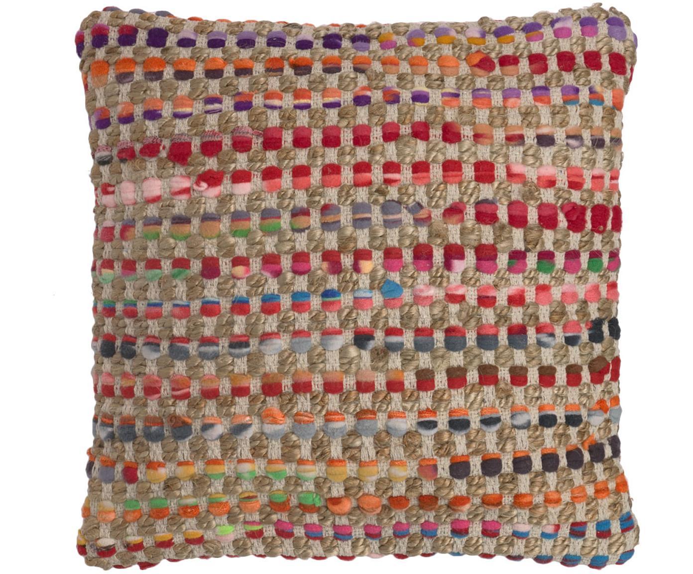 Funda de cojín de yute y algodón Cando, Parte delantera: 60%fibras sintéticas, 40, Parte trasera: algodón, Yute, multicolor, An 45 x L 45 cm