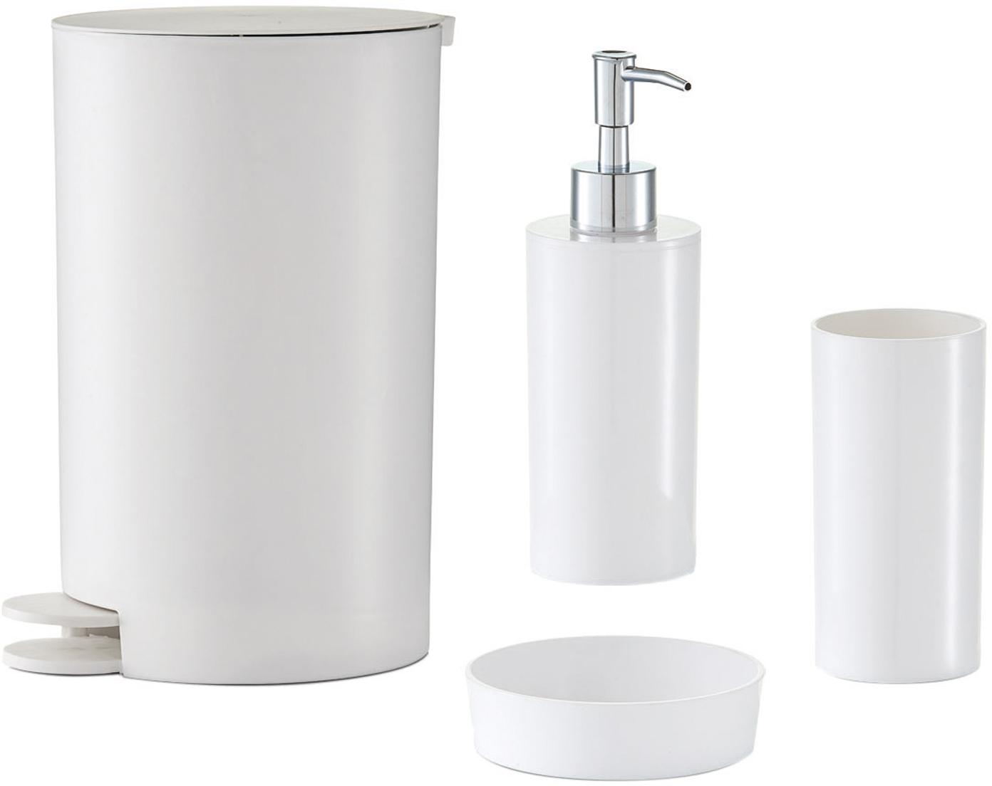 Set 4 accessori da bagno Nika, Materiale sintetico, Bianco, Set in varie misure