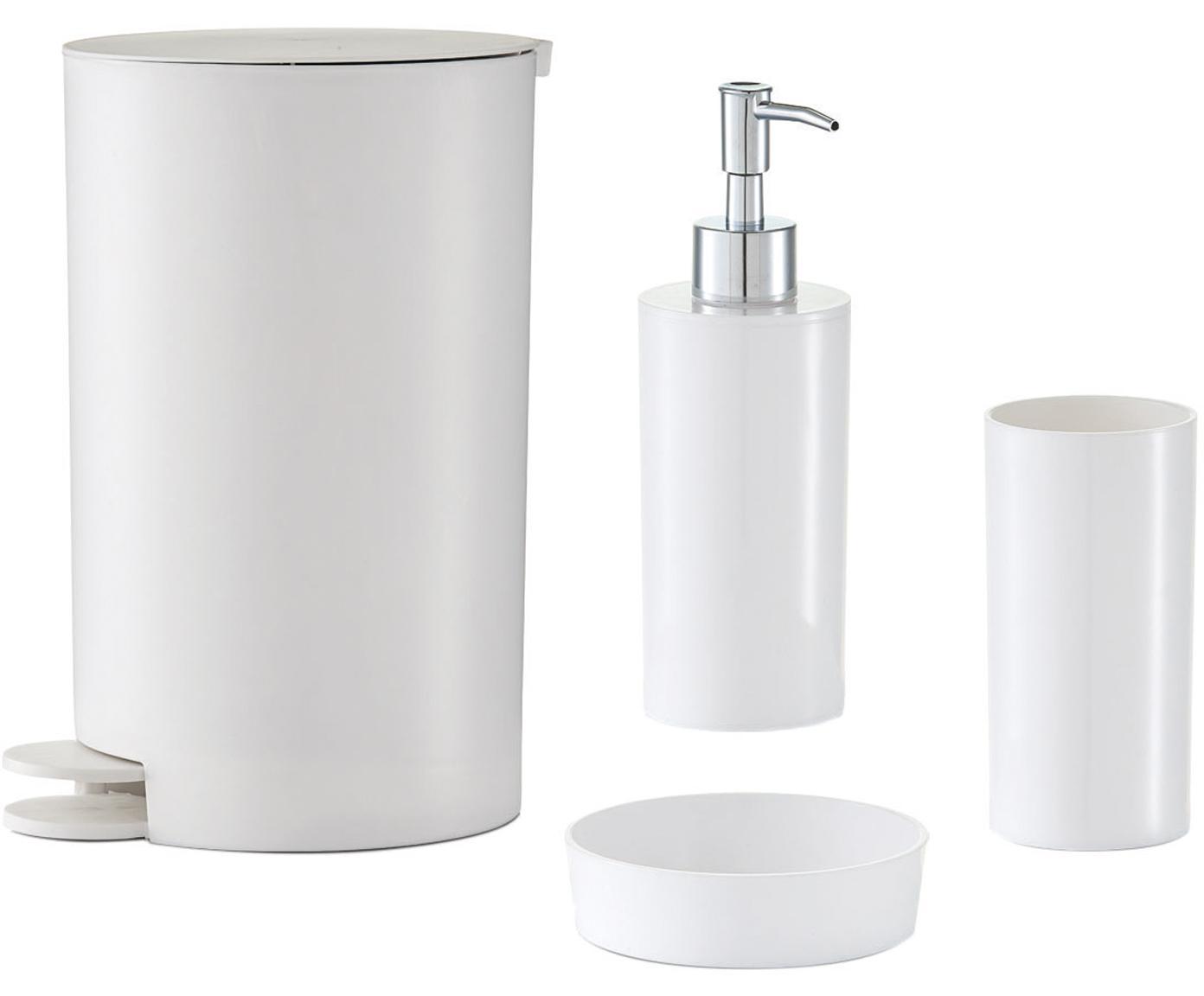 Bad-Accessoires-Set Nika, 4-tlg., Kunststoff, Weiß, Sondergrößen