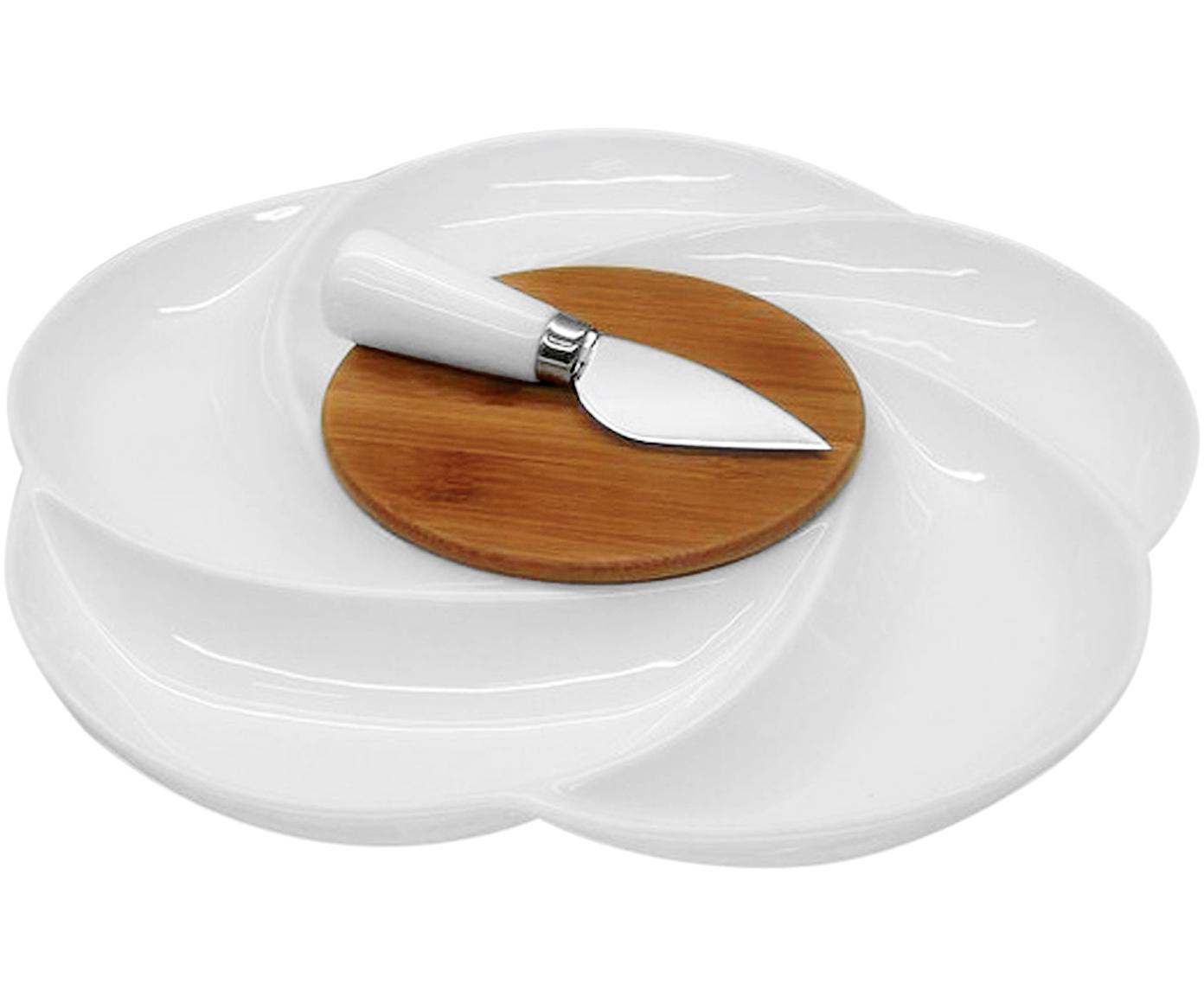 Set tabla de queso, 2pzas., Cuencos: porcelana, Blanco, beige, Set de diferentes tamaños