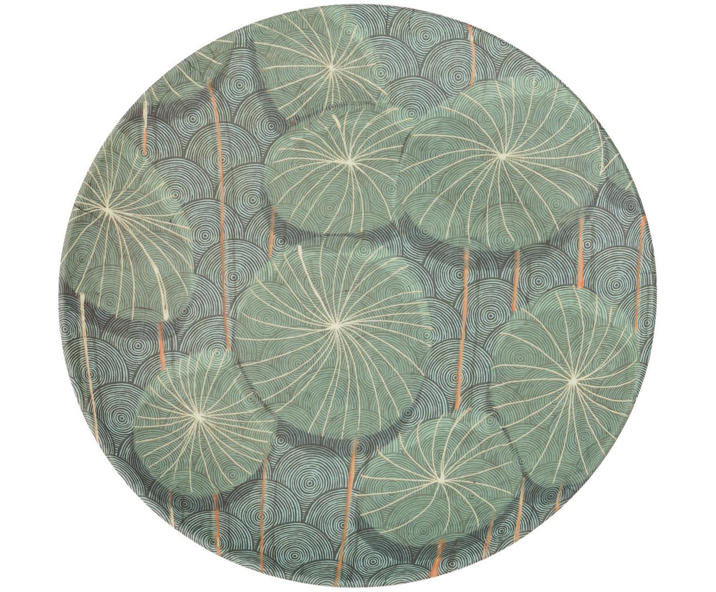 Bamboehouten ontbijtbord Nymphaea, Gelakte bamboevezels, Blauw, groen, Ø 20 x H 2 cm