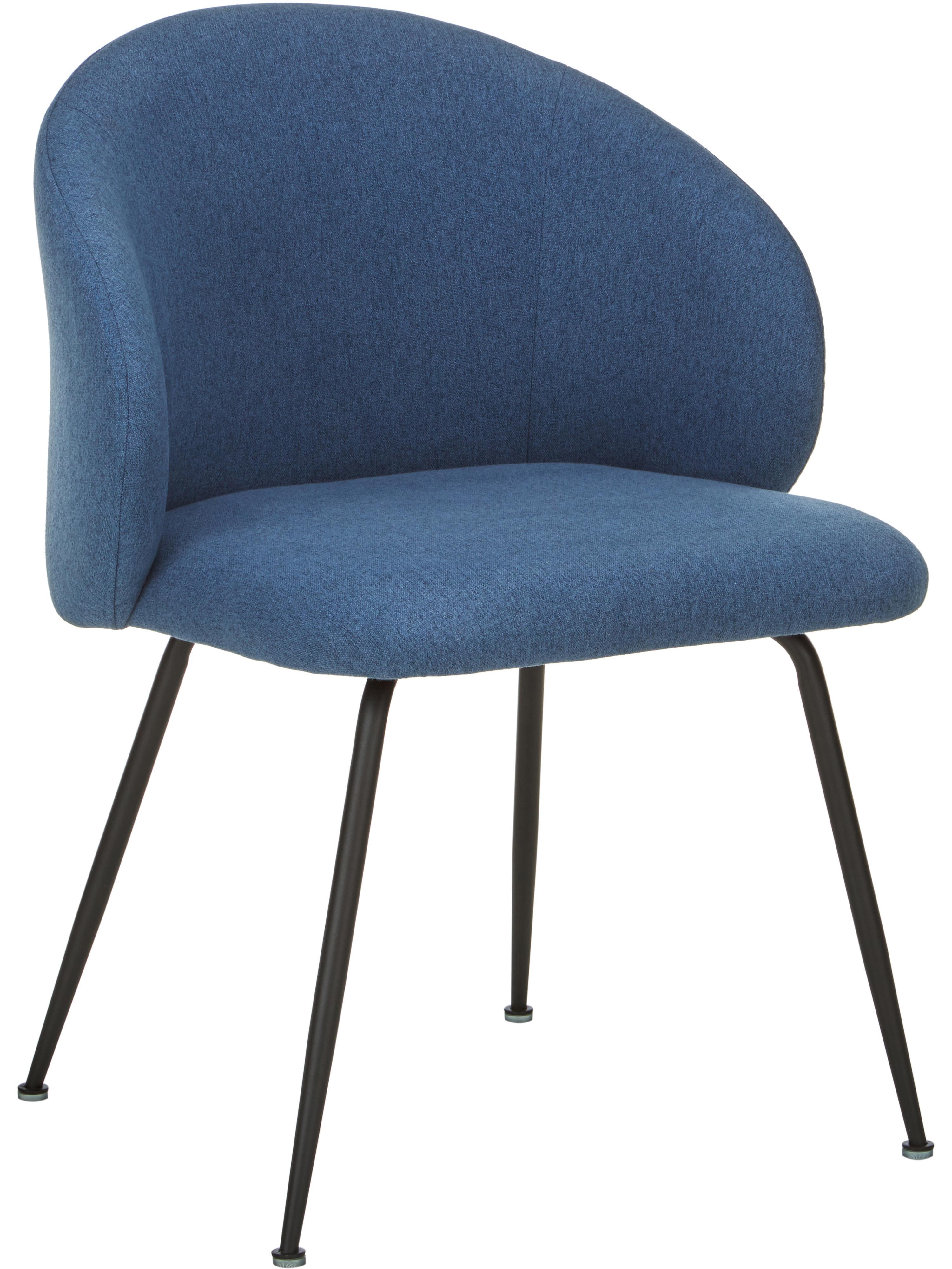 Sedia imbottita Luisa 2 pz, Rivestimento: 100% poliestere, Gambe: metallo verniciato a polv, Tessuto blu, nero, Larg. 61 x Prof. 58 cm