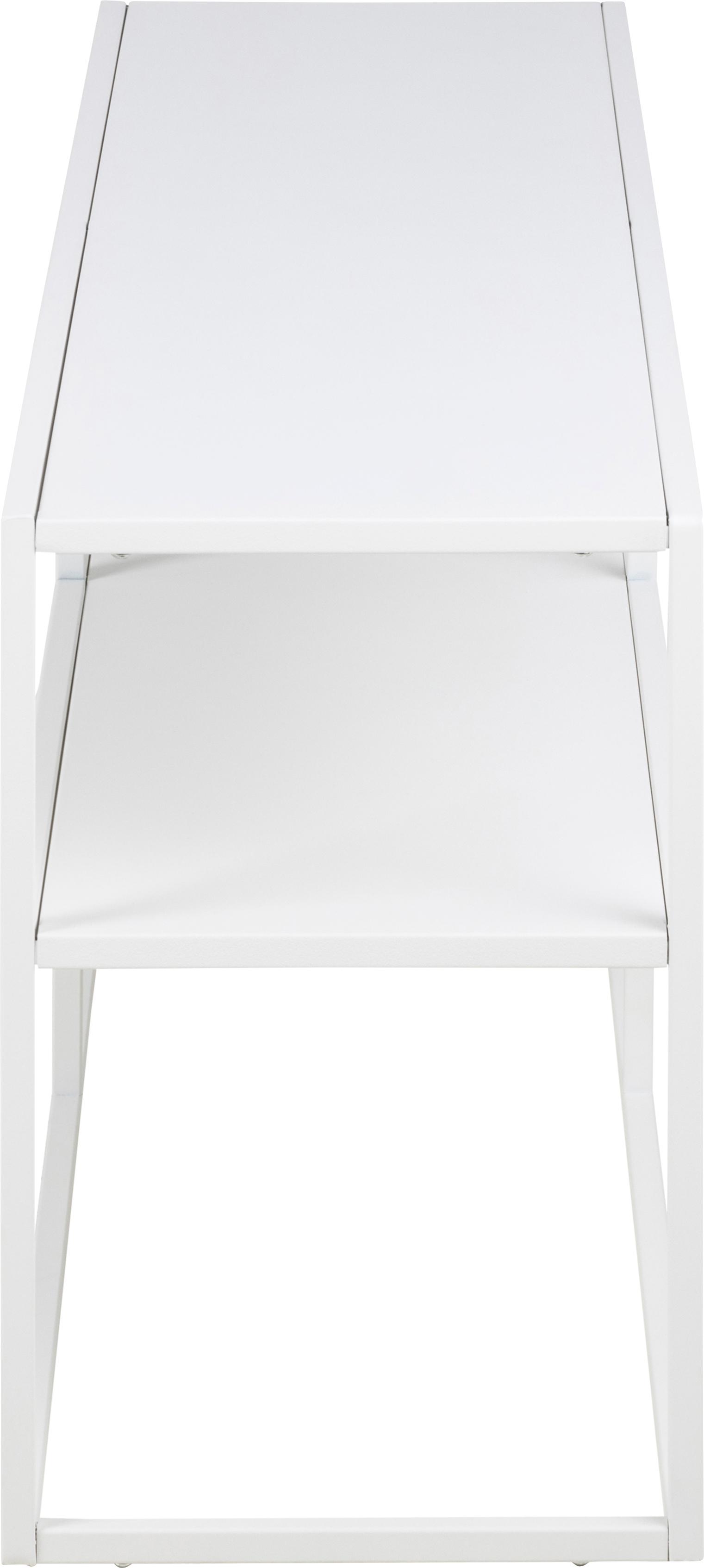 Metall-Lowboard Newton in Weiß, Metall, pulverbeschichtet, Weiß, 120 x 46 cm