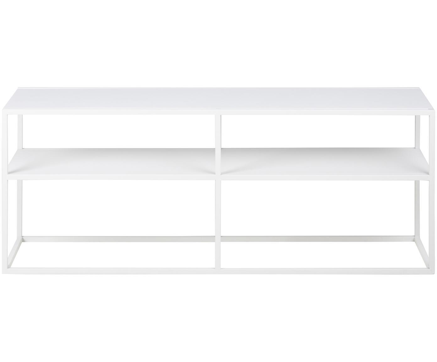 Metalen tv-meubel Newton in wit, Gepoedercoat metaal, Wit, 120 x 46 cm