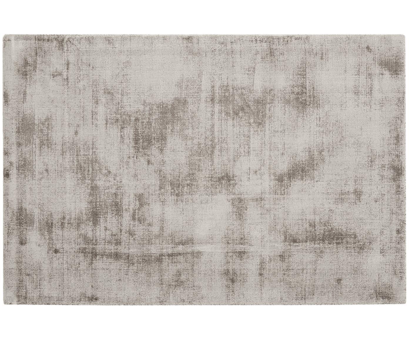 Handgeweven viscose vloerkleed Jane, Bovenzijde: 100% viscose, Onderzijde: 100% katoen, Taupe, 200 x 300 cm