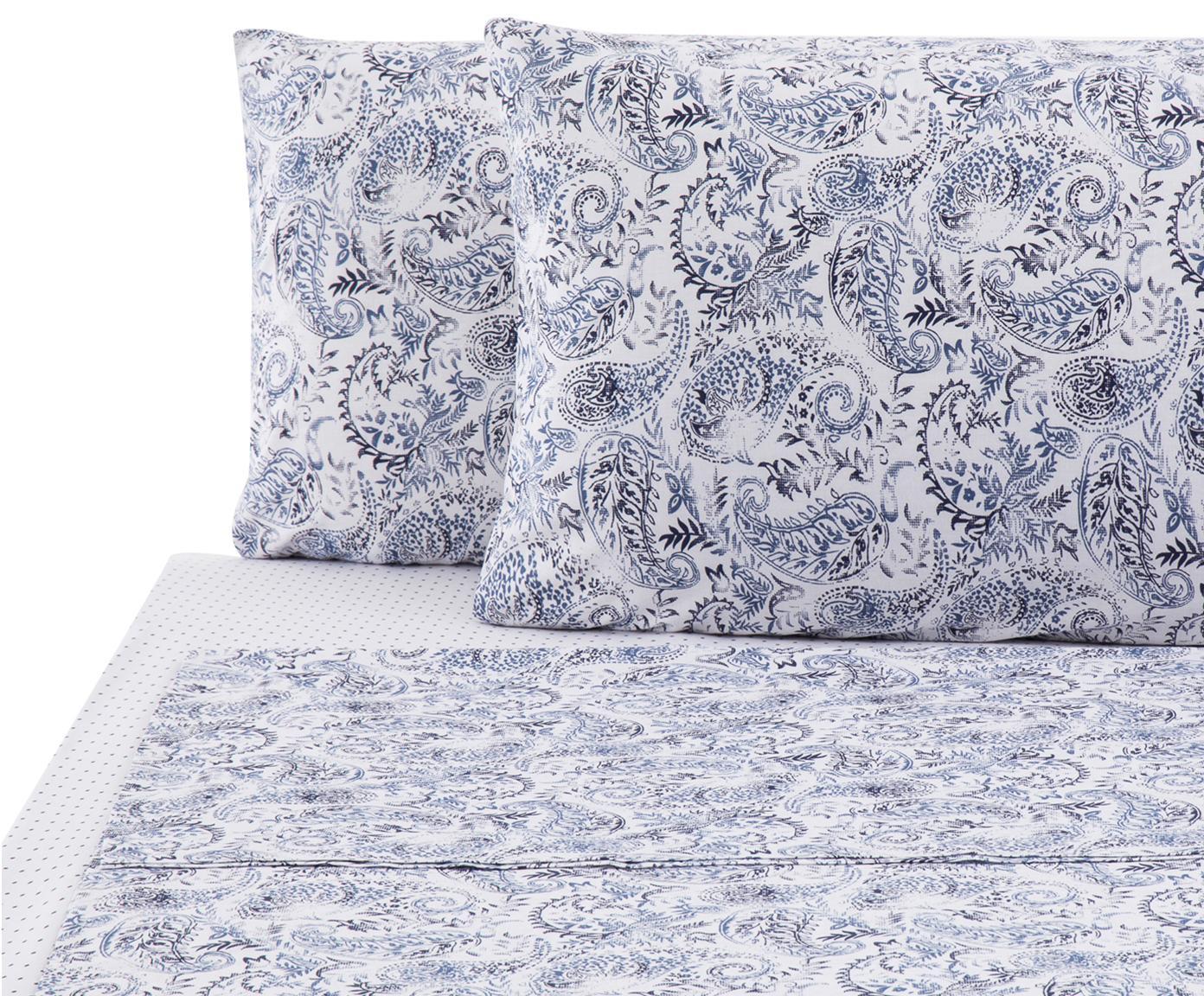 Set lenzuola in cotone ranforce Yumi 4 pz, Tessuto: Renforcé, Blu, bianco, 290 x 240 cm
