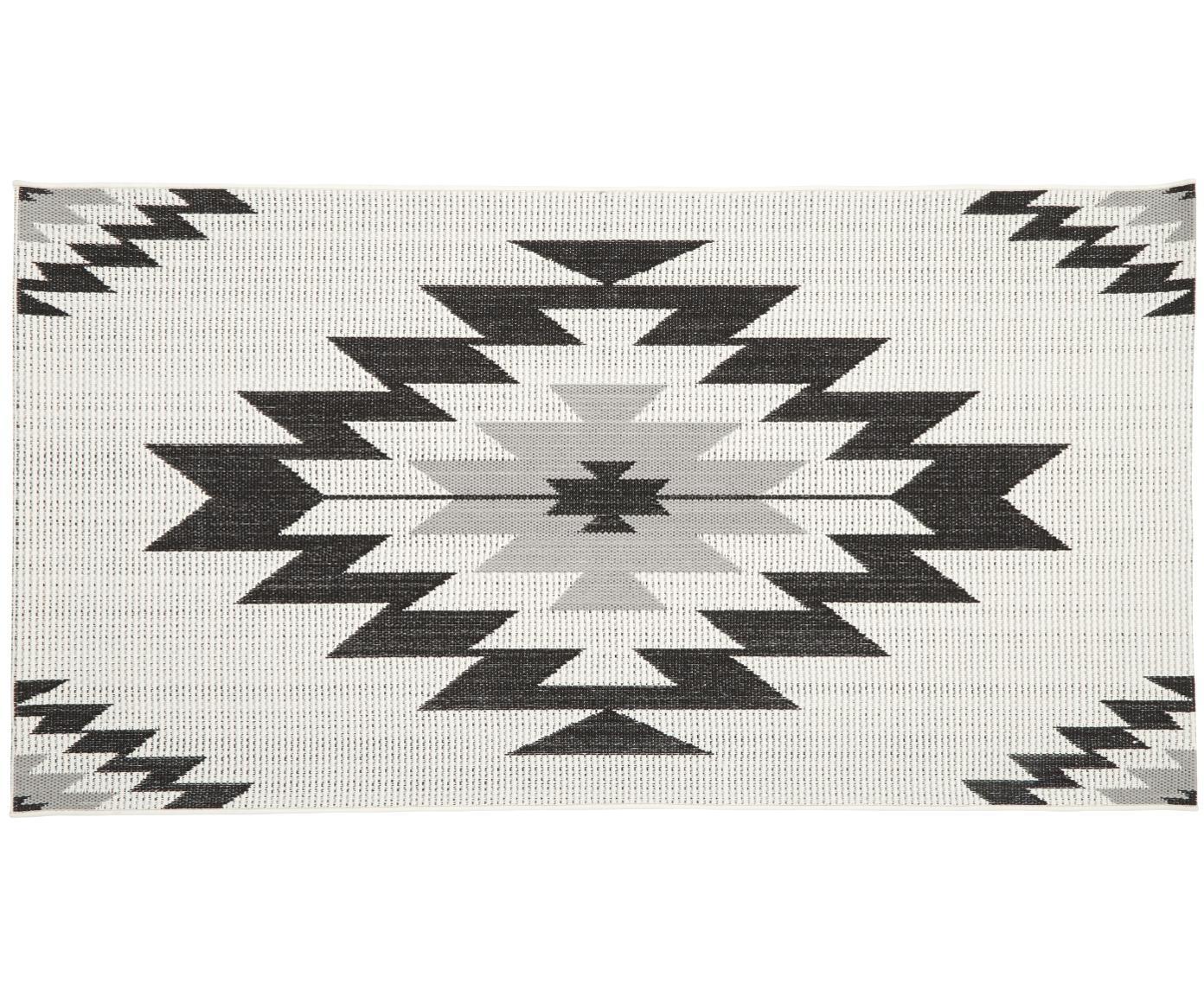 Tappeto da interno-esterno Ikat, Retro: poliestere, Bianco crema, nero, grigio, Larg. 80 x Lung. 150 cm (taglia XS)