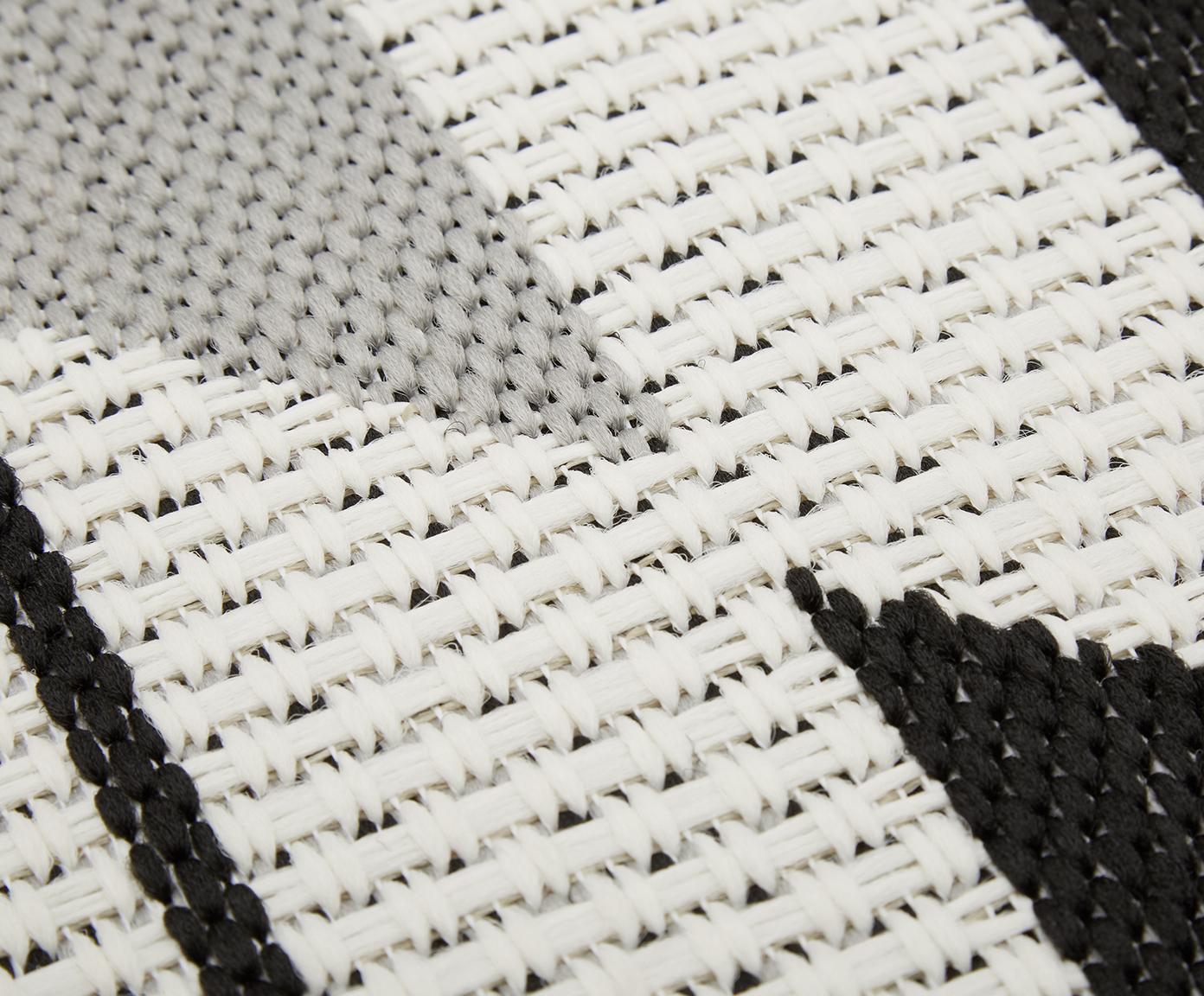 Dywan wewnętrzny/zewnętrzny Ikat, Kremowobiały, czarny, szary, S 200 x D 290 cm (Rozmiar L)