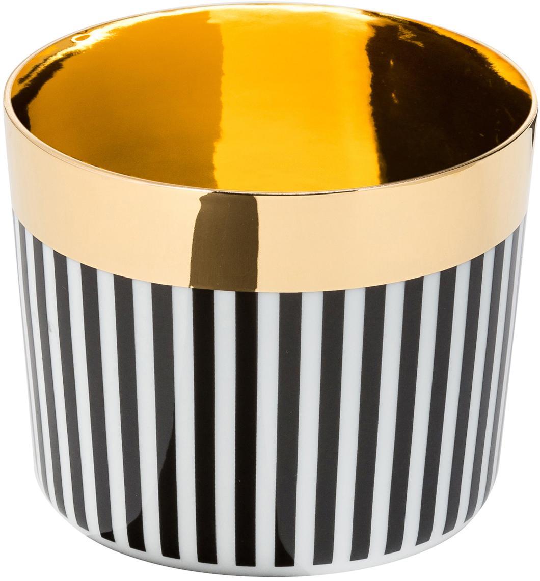 Pozłacany kubek do szampana z porcelany Sip of Gold, Czarny, biały, złoty, 300 ml
