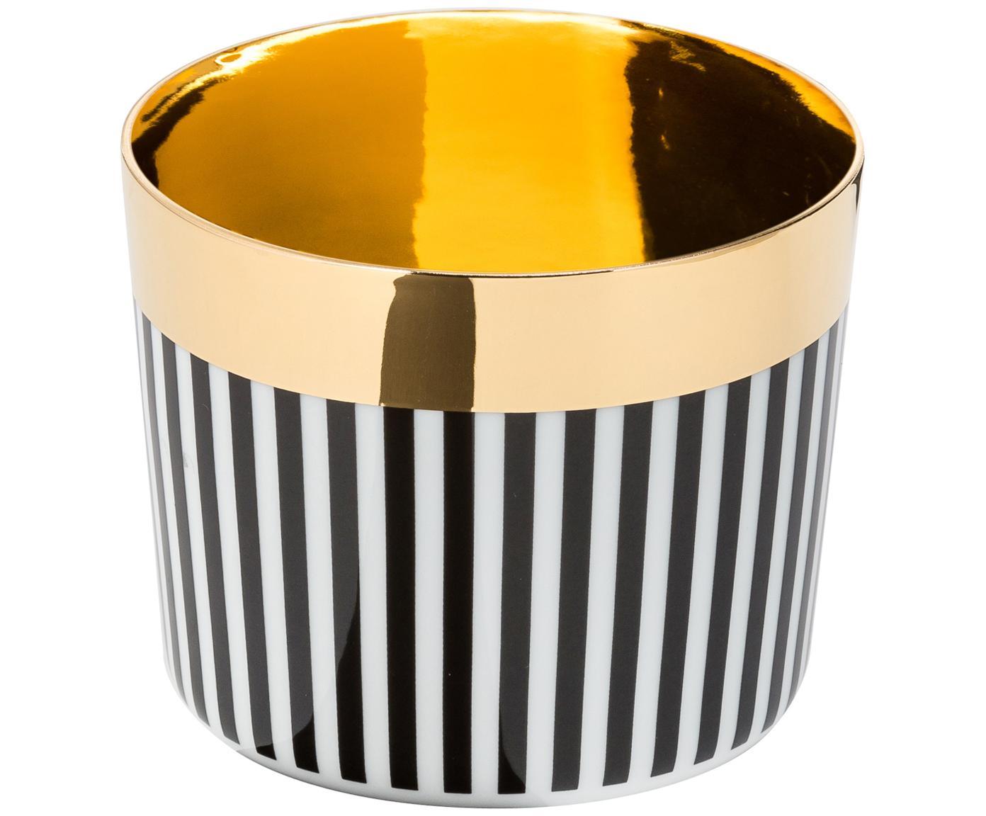 Bicchiere champagne in porcellana Sip of Gold, Bordo: dorato, Nero, bianco, dorato, 300 ml