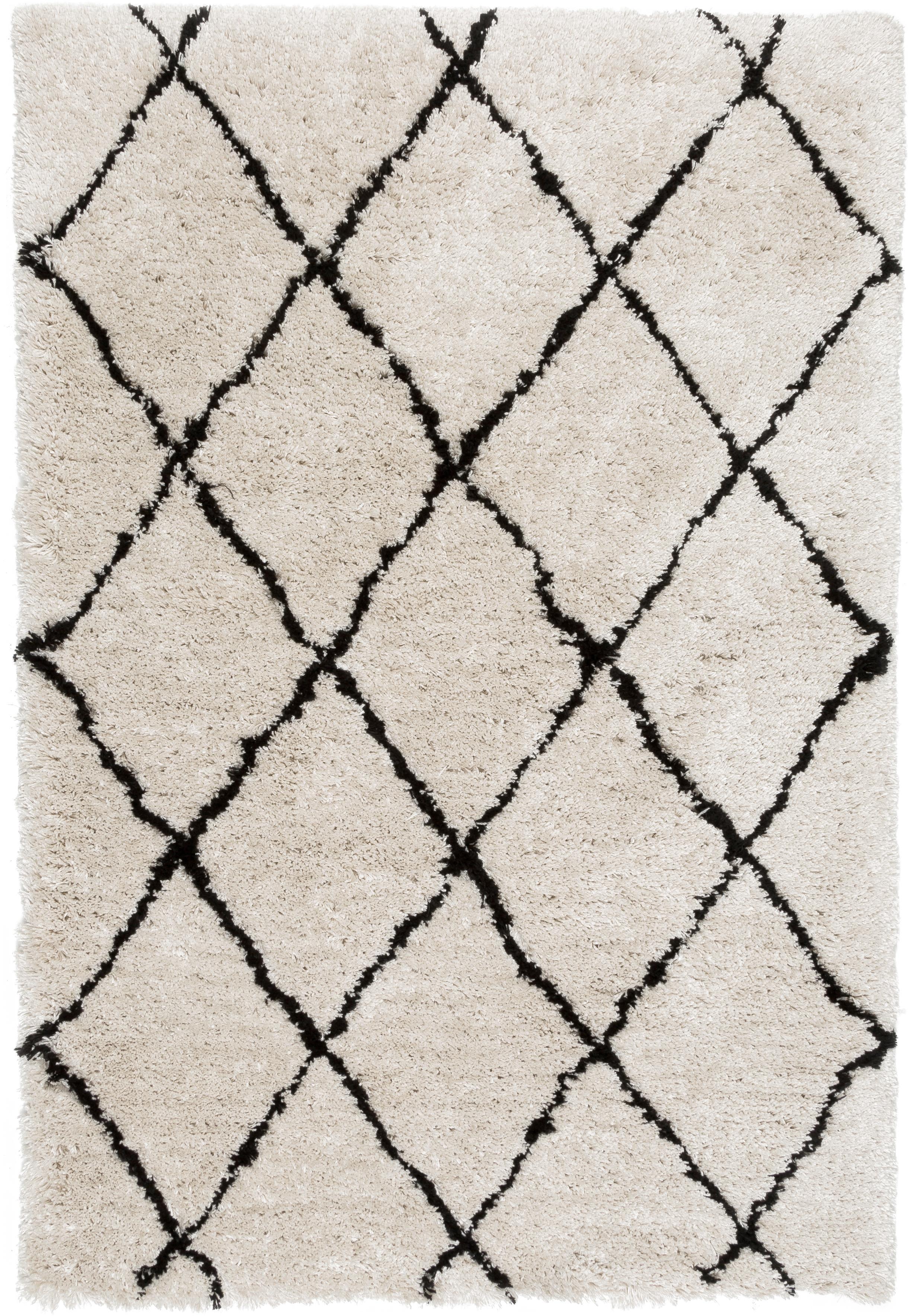 Flauschiger Hochflor-Teppich Naima, handgetuftet, Flor: 100% Polyester, Beige, Schwarz, B 120 x L 180 cm (Grösse S)