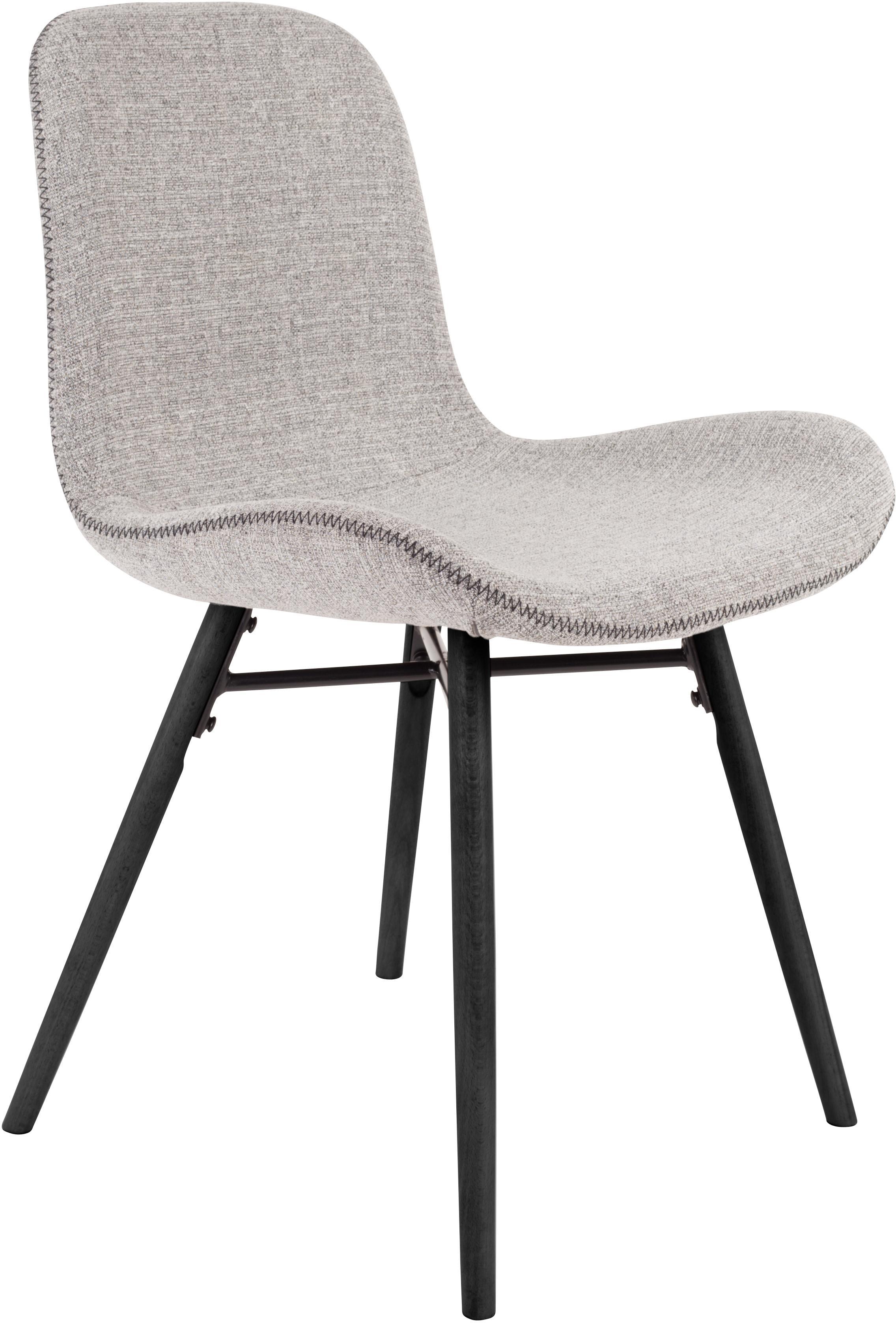 Polsterstühle Lester, 2 Stück, Bezug: 100% Polyester, Beine: Buchenholz, lackiert, Bezug: HellgrauBeine: Schwarz, B 50 x T 55 cm