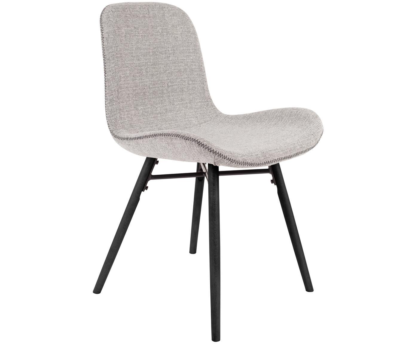 Krzesło tapicerowane Lester, 2 szt., Tapicerka: 100% poliester, Nogi: drewno bukowe, lakierowan, Tapicerka: pianka poliuretanowa, Tapicerka: jasny szary Nogi: czarny, S 50 x W 81 cm