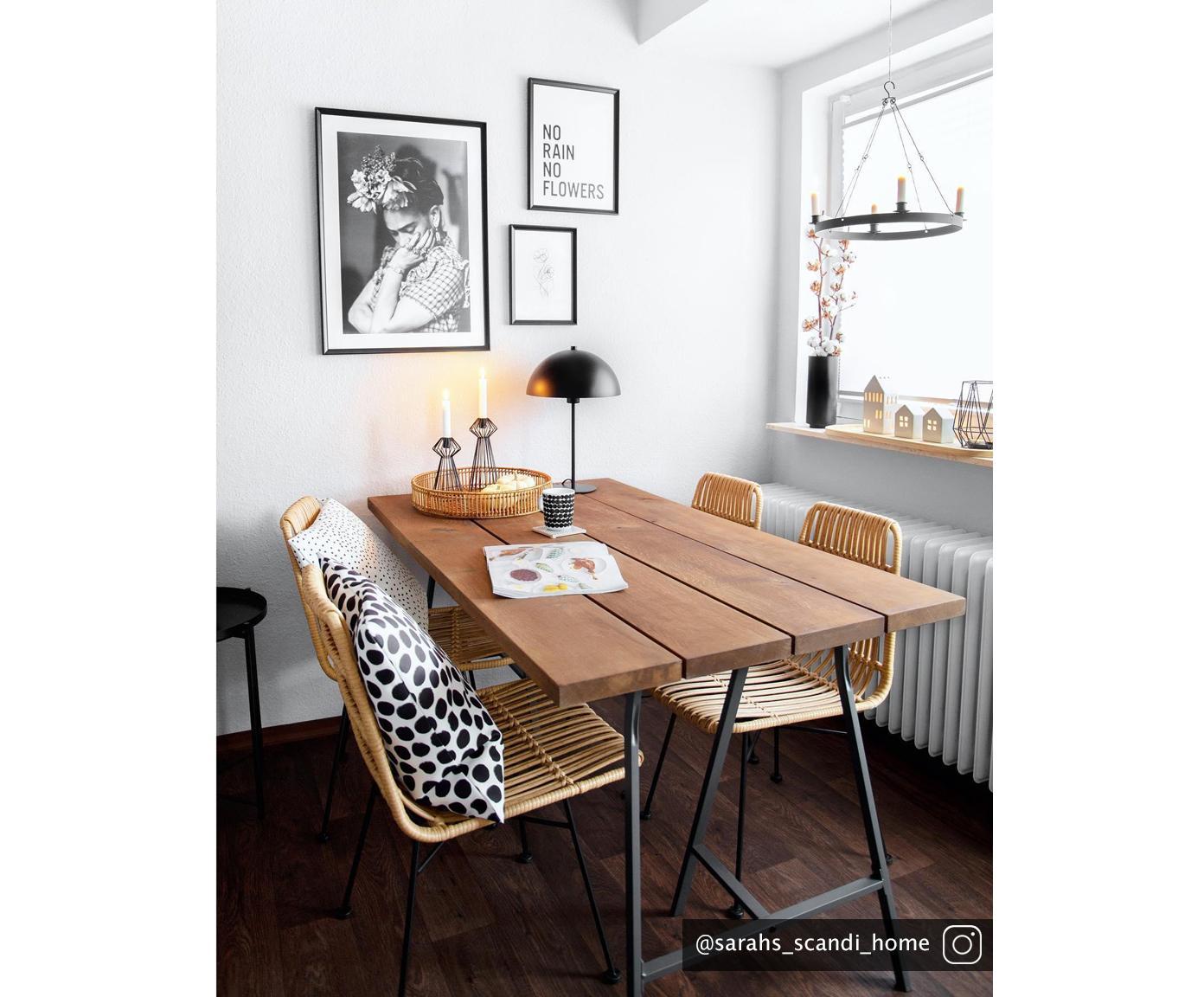 Polyratanová židle Costa, 2 ks, Světle hnědá Nohy: černá