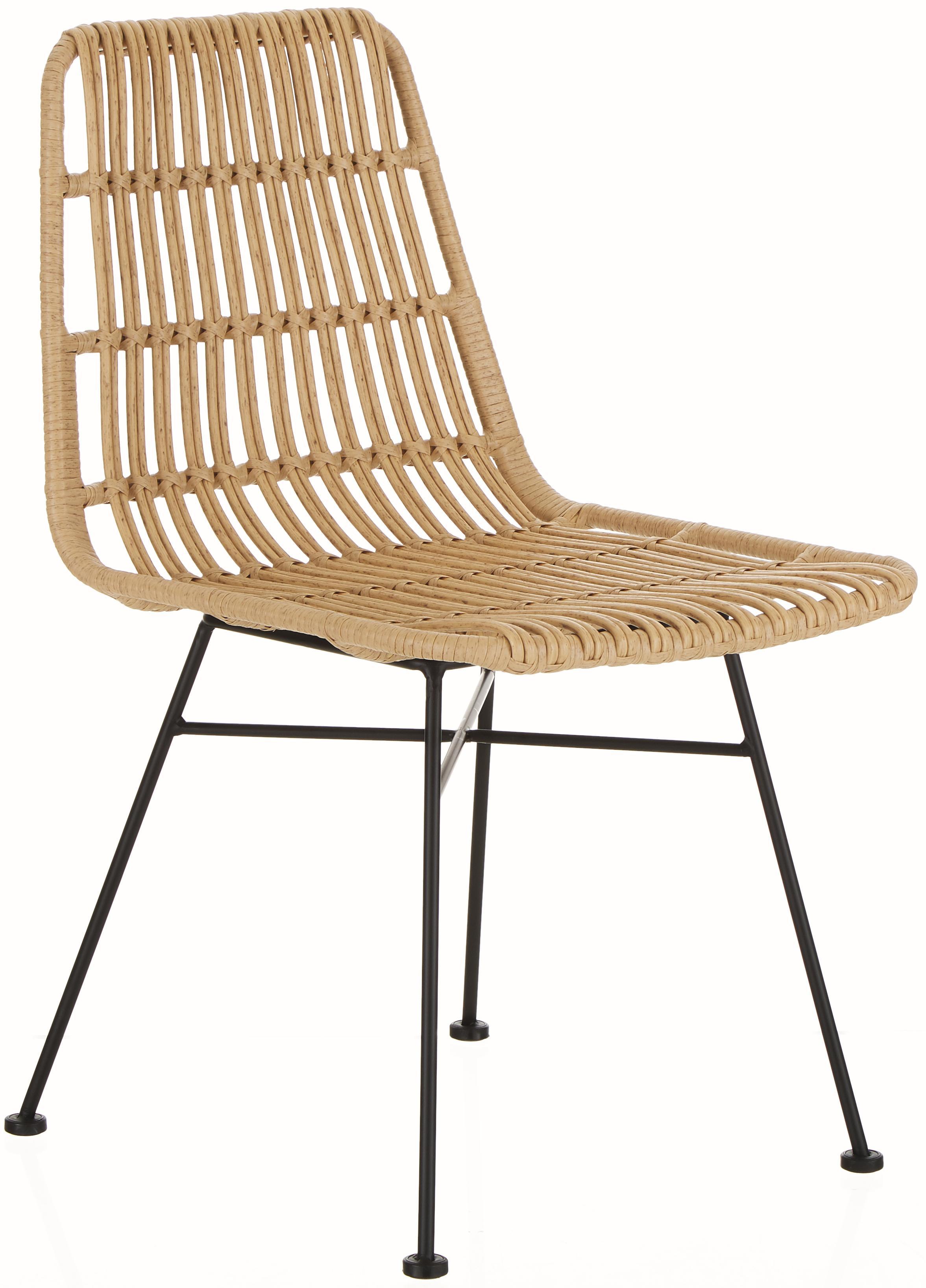 Krzesło z polirattanu Tulum, 2 szt., Stelaż: metal malowany proszkowo, Siedzisko: jasny brązowy, nakrapiany Stelaż: czarny, matowy, S 47 x G 62 cm