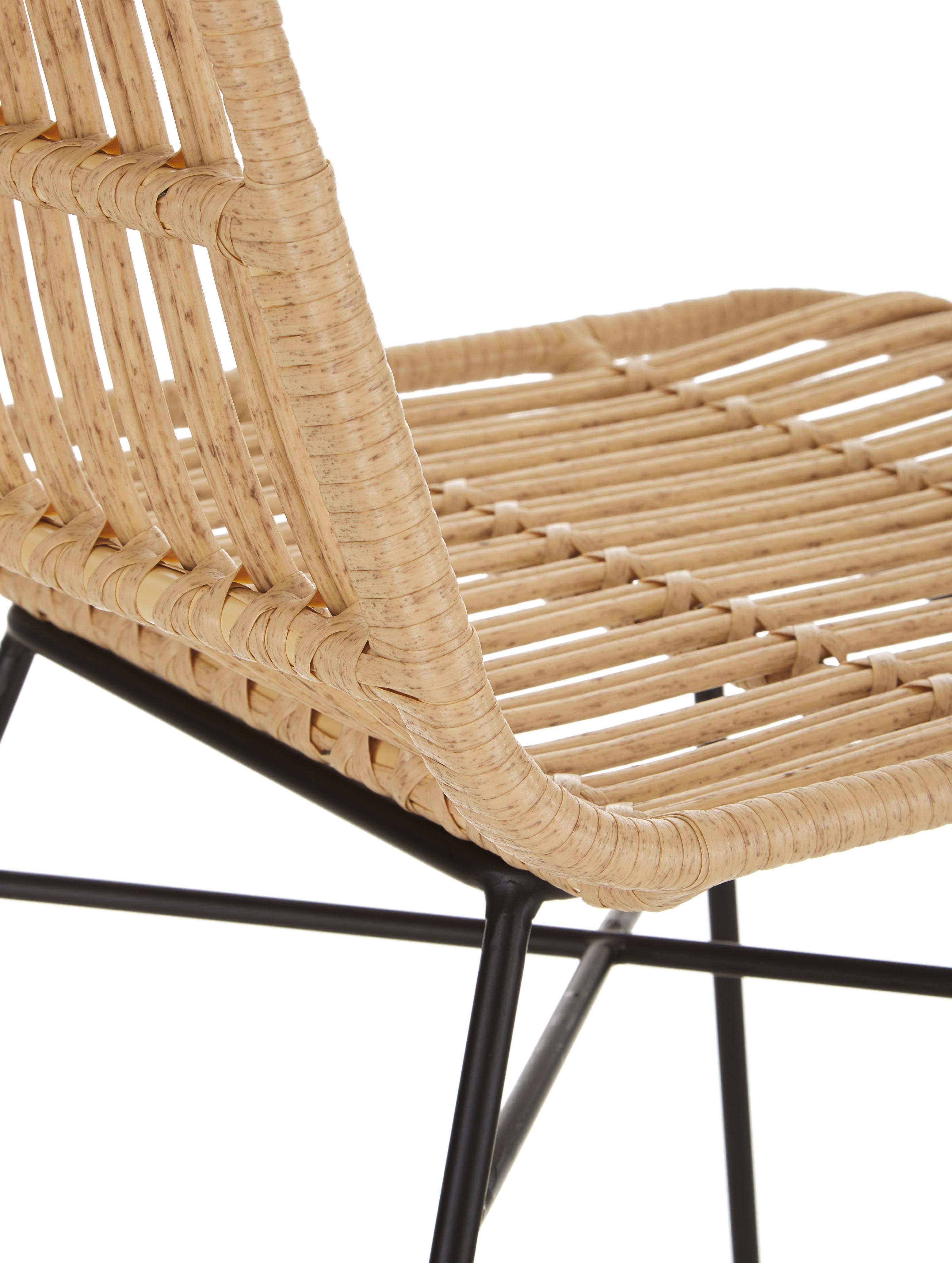 Polyrattan-Stühle Costa, 2 Stück, Sitzfläche: Polyethylen-Geflecht, Gestell: Metall, pulverbeschichtet, Hellbraun, Beine Schwarz, B 47 x T 61 cm