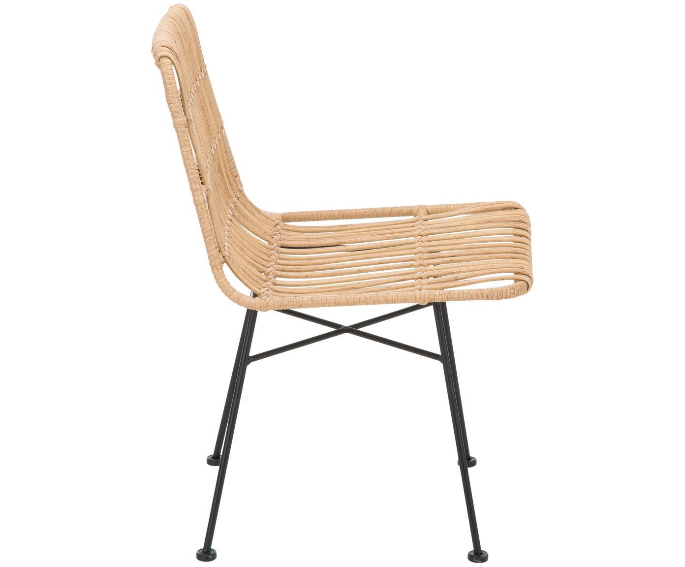 Polyrattan-Stühle Costa, 2 Stück, Sitzfläche: Polyethylen-Geflecht, Gestell: Metall, pulverbeschichtet, Hellbraun, Beine Schwarz, B 47 x T 62 cm