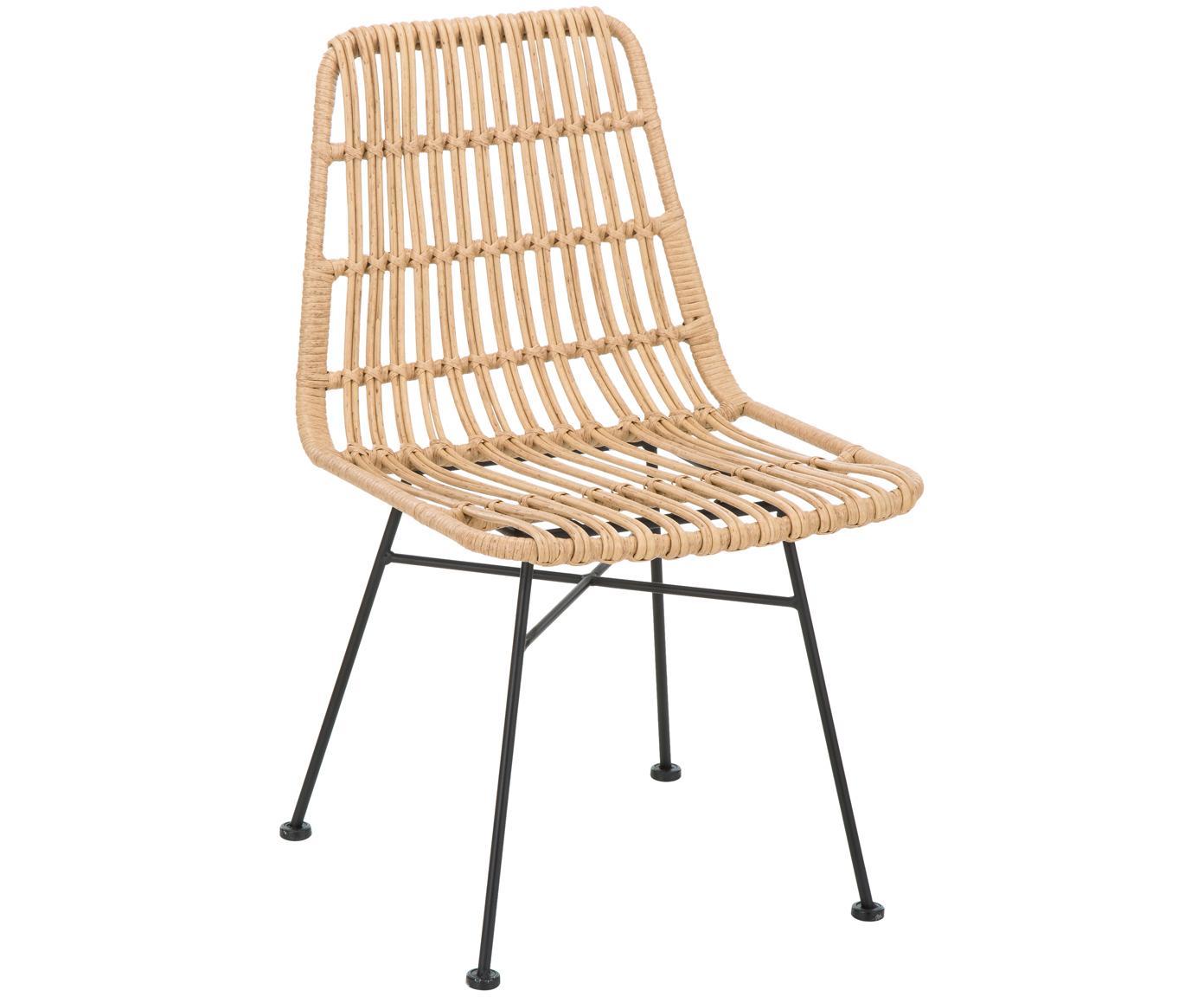 Polyrotan stoelen Costa, 2 stuks, Zitvlak: polyethyleen-vlechtwerk, Frame: gepoedercoat metaal, Zitvlak: lichtbruin, gevlekt. Frame: mat zwart, B 47  x D 62 cm