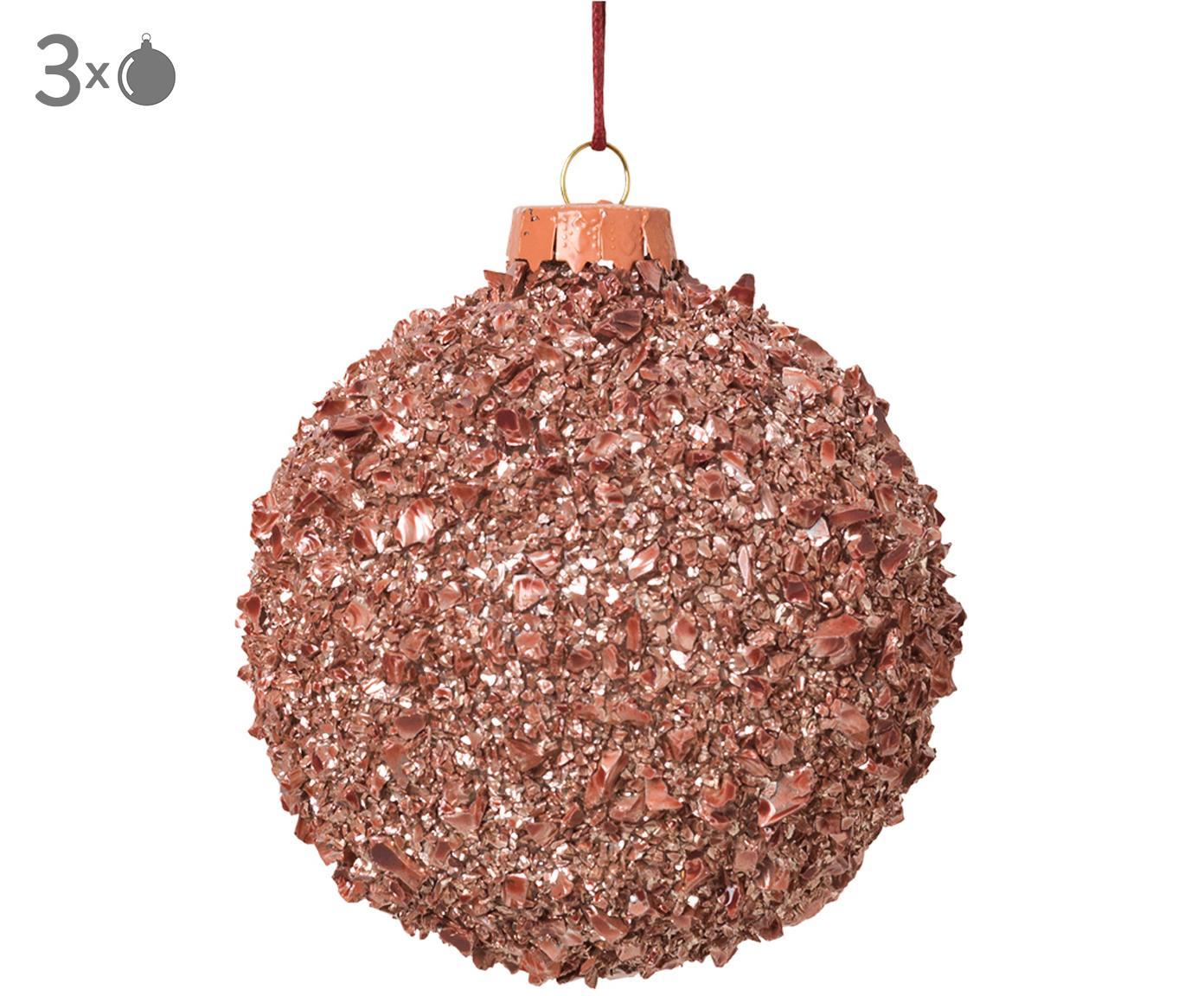 Kerstballen Cinna, 3 stuks, Glas, metaal, Roze, Ø 8 cm