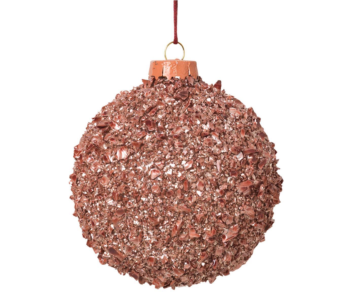 Weihnachtskugeln Cinna Ø8cm, 3Stück, Glas, Metall, Rosa, Ø 8 cm