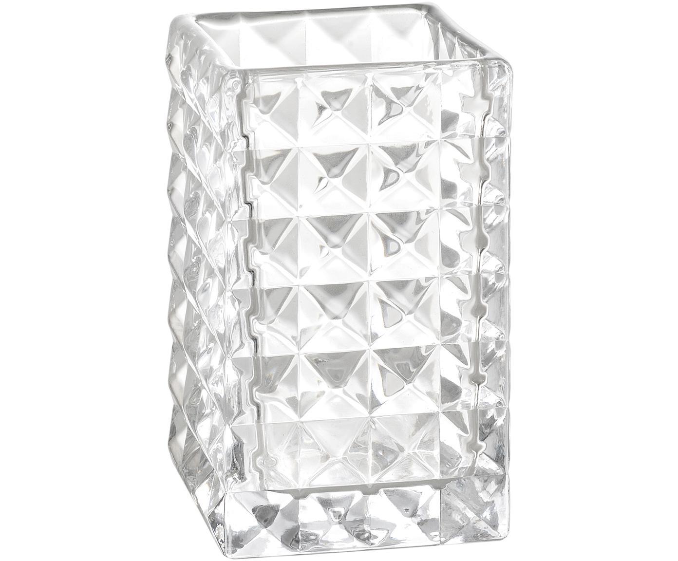 Porta spazzolini Dots, Vetro, Trasparente, Larg. 7 x Alt. 11 cm