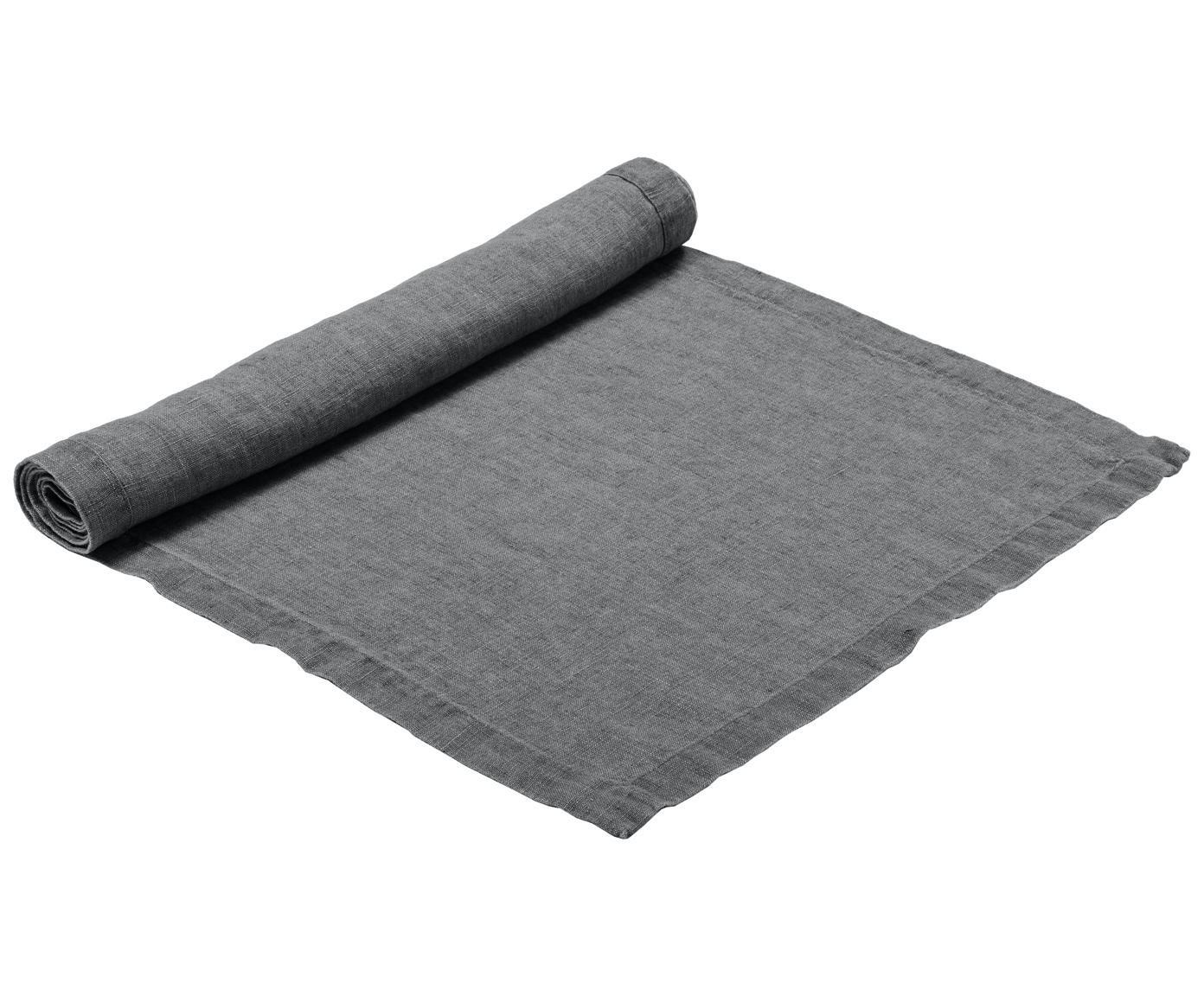 Leinen-Tischläufer Ruta, Grau, 40 x 140 cm