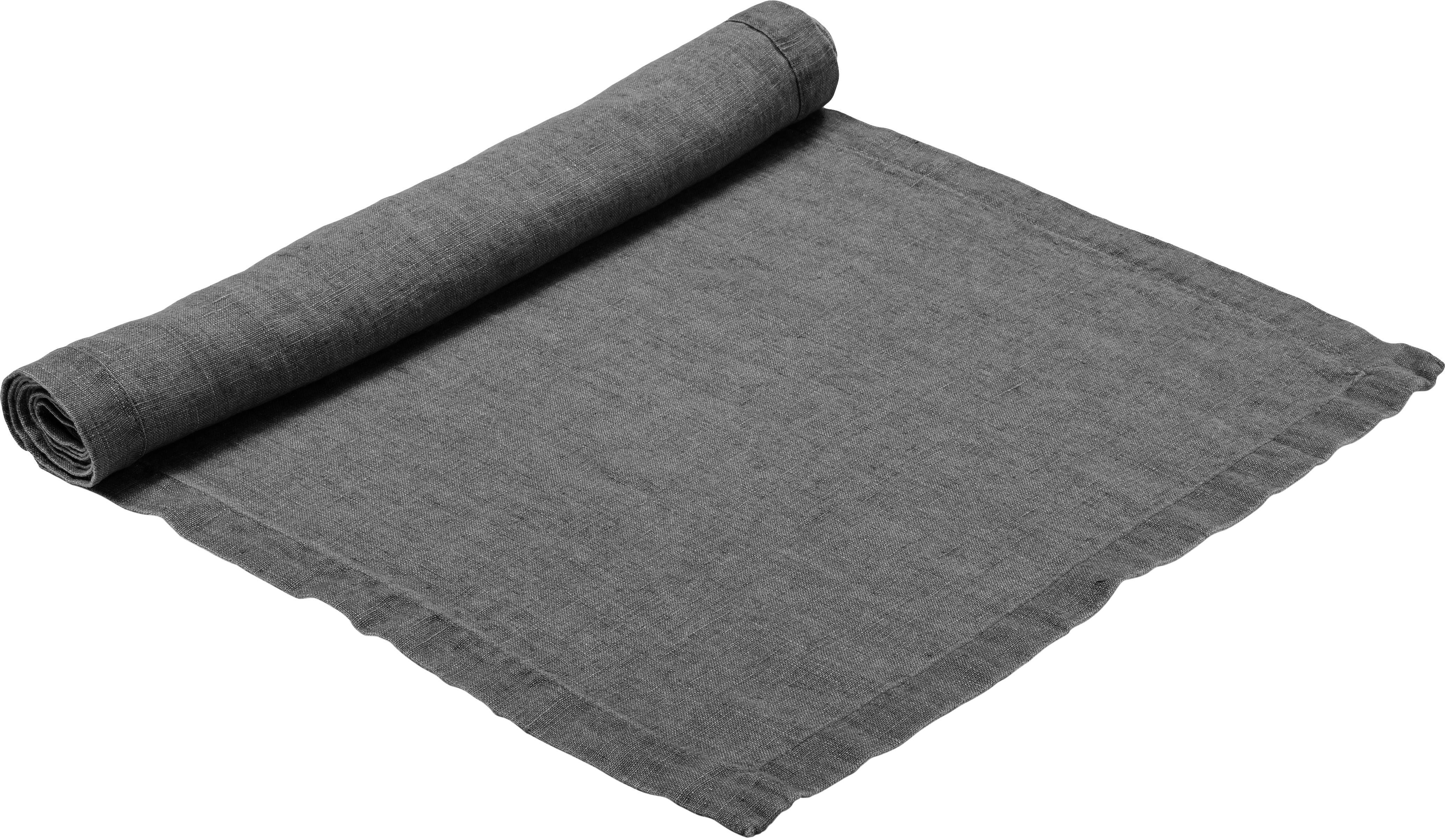 Camino de mesa de lino Ruta, Gris, An 40 x L 140 cm