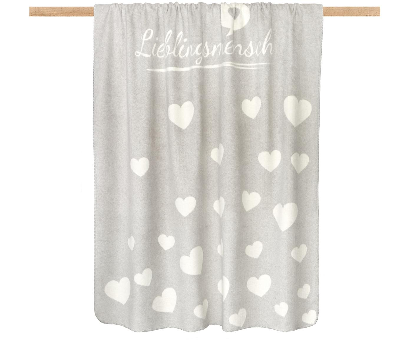 Flauschiges Fleece-Plaid Lieblingsmensch mit Aufschrift und Motiv, 70% Baumwolle, 30% Polyacryl, Grau, gebrochenes Weiß, 150 x 200 cm