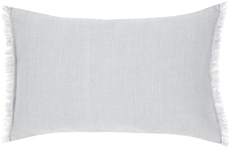 Funda de cojín de lino con flecos Luana, Lino, Gris claro, An 30 x L 50 cm