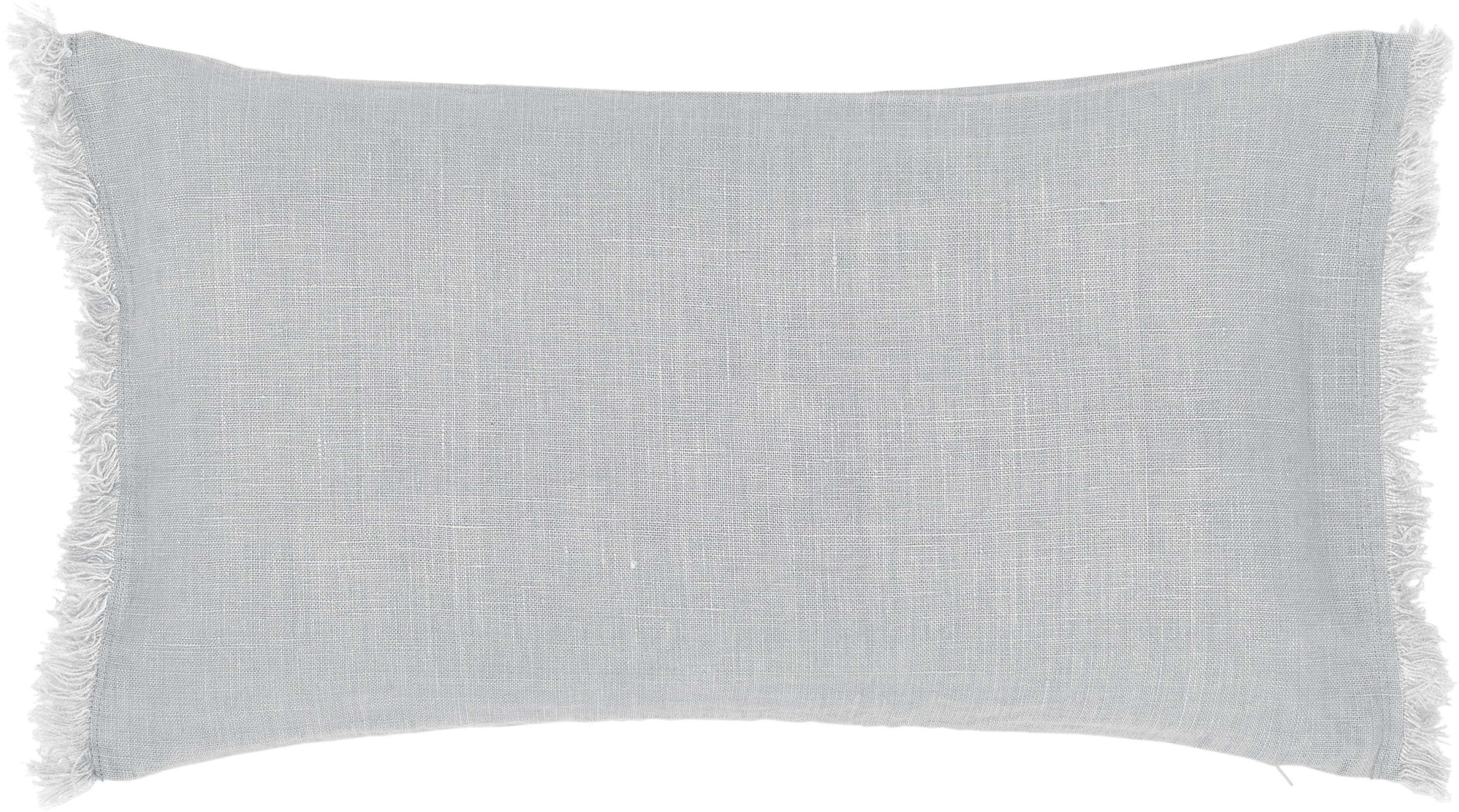 Federa arredo in lino grigio chiaro con frange Luana, 100% lino, Grigio chiaro, Larg. 30 x Lung. 50 cm