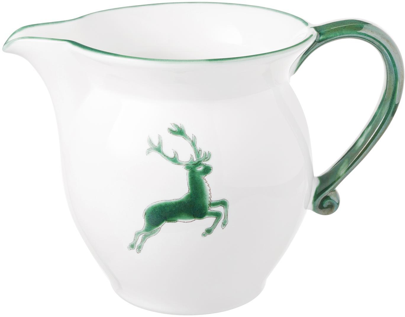 Ręcznie malowany dzbanek do mleka Classic Grüner Hirsch, Ceramika, Zielony, biały, 300 ml