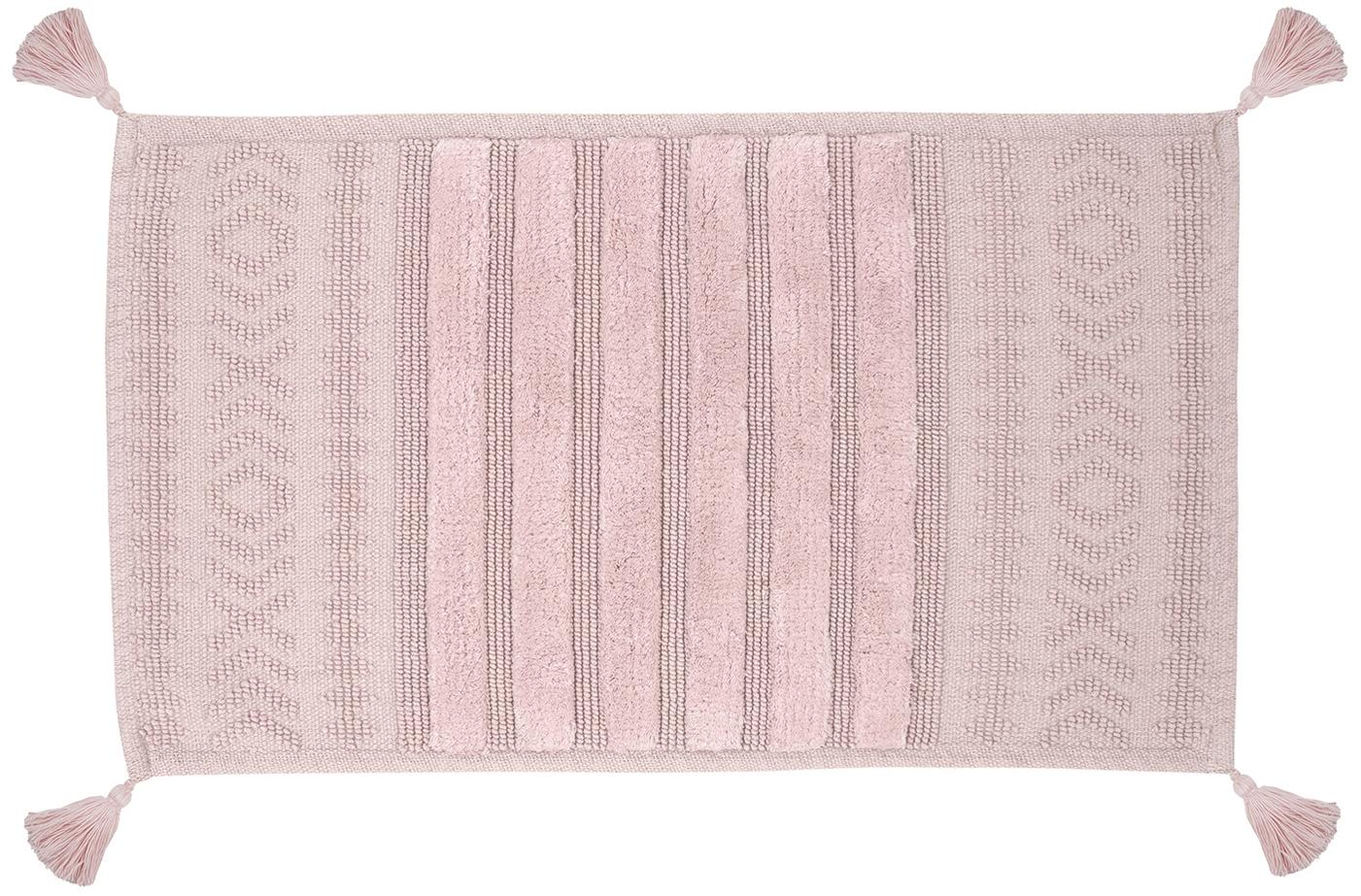 Alfombrilla de baño con borlas Bernadotte, Rosa palo, An 50 x L 80 cm