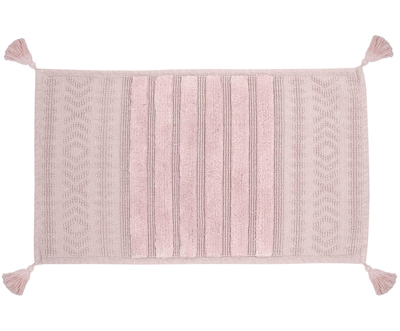 Tappeto bagno rosa con nappe Bernadotte, Rosa cipria, Larg. 50 x Lung. 80 cm