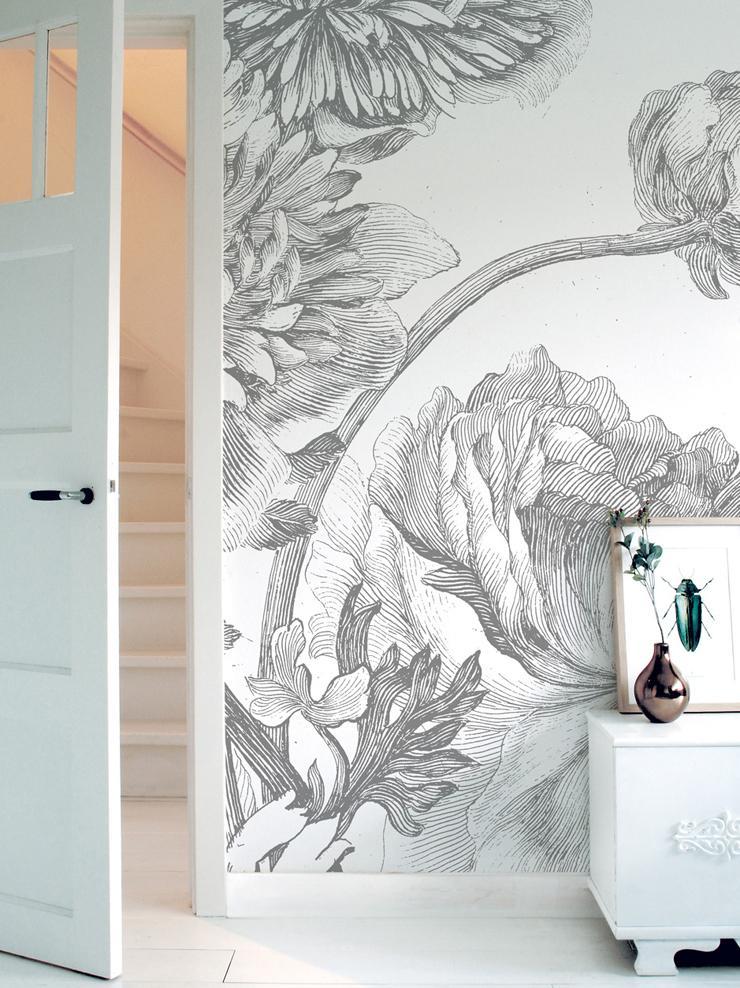 Fotomural Engraved Flowers, Tejido no tejido, ecológica y biodegradable, Gris, blanco, An 389 x Al 280 cm