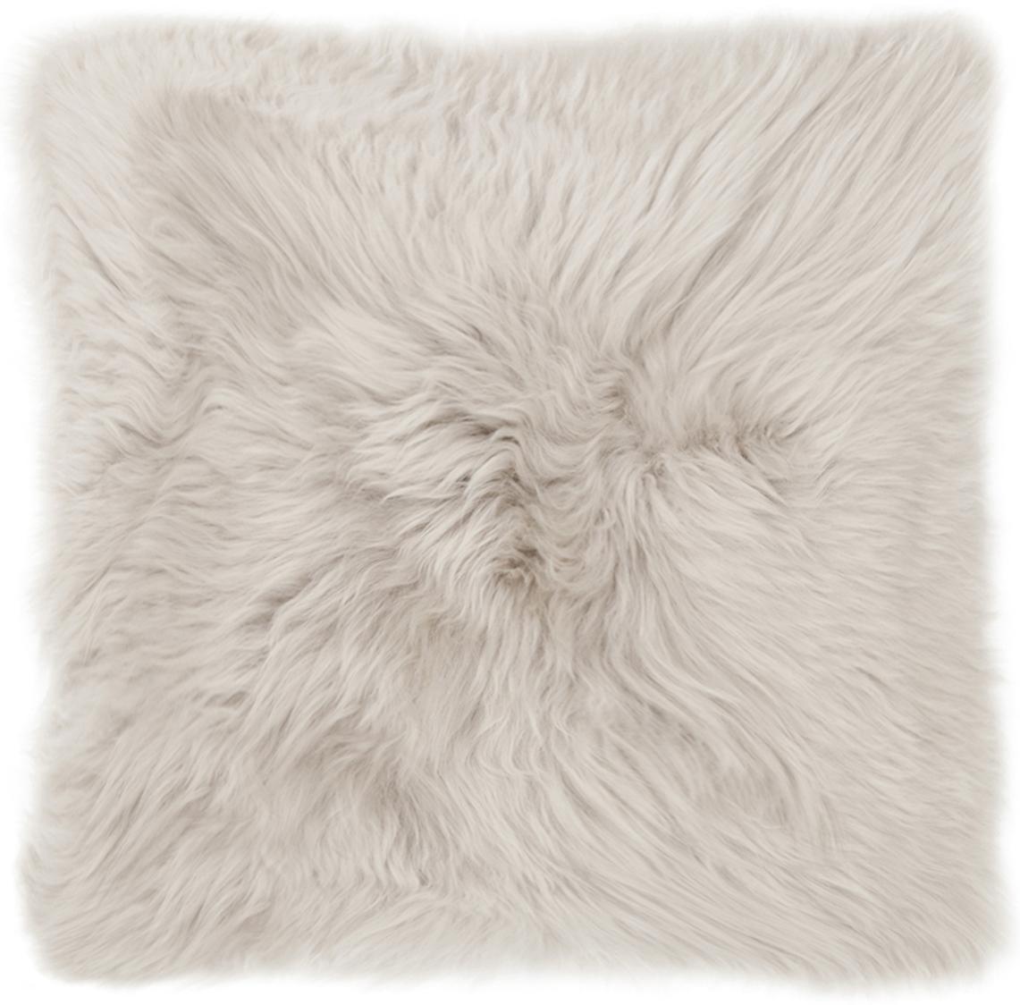 Funda de cojín de piel de oveja Oslo, Parte delantera: 100%piel de oveja, Parte trasera: lino, Beige, gris claro, An 40 x L 40 cm