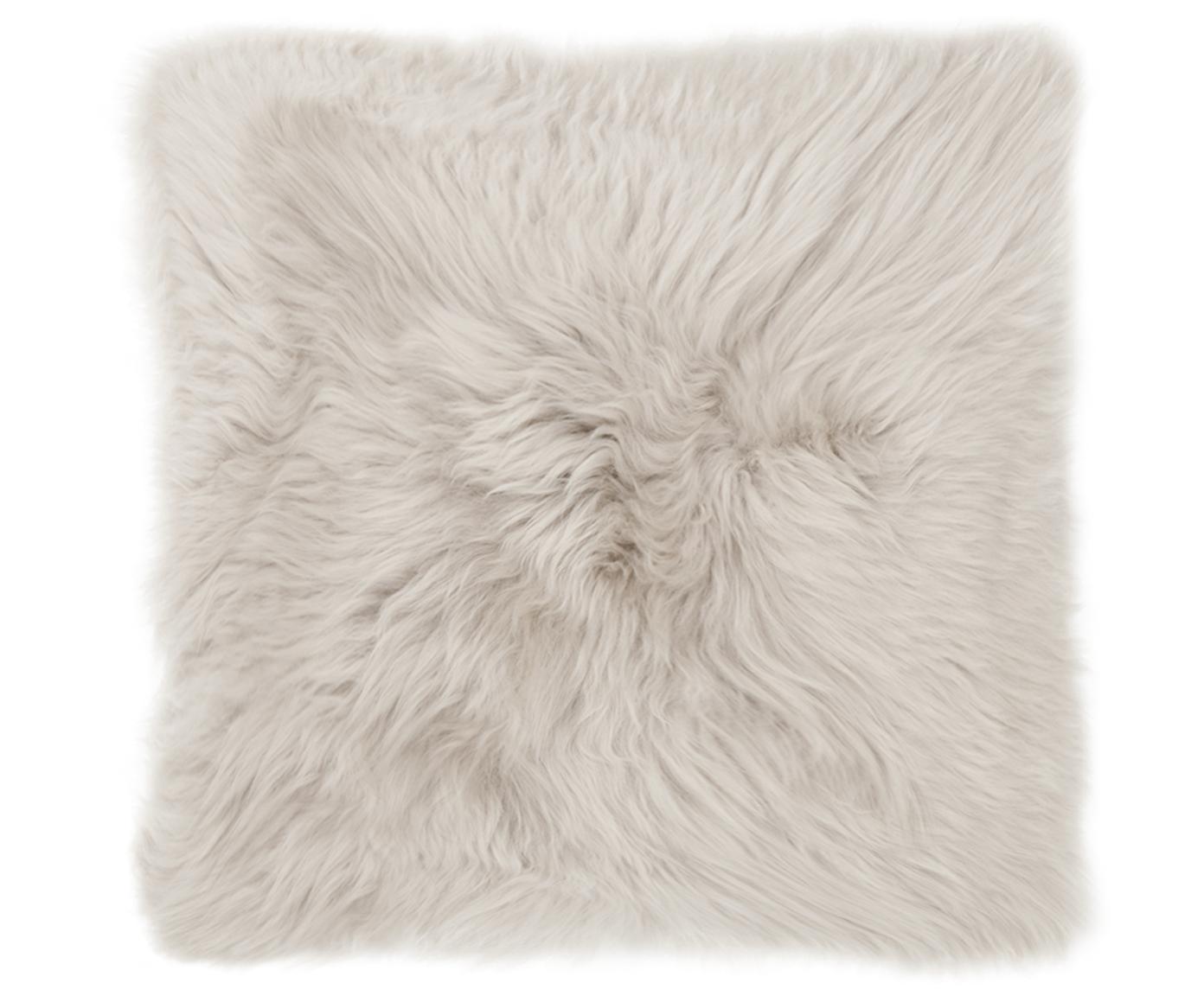 Federa arredo in pelliccia di pecora Oslo, Retro: lino, Fronte: beige Retro: grigio chiaro, Larg. 40 x Lung. 40 cm