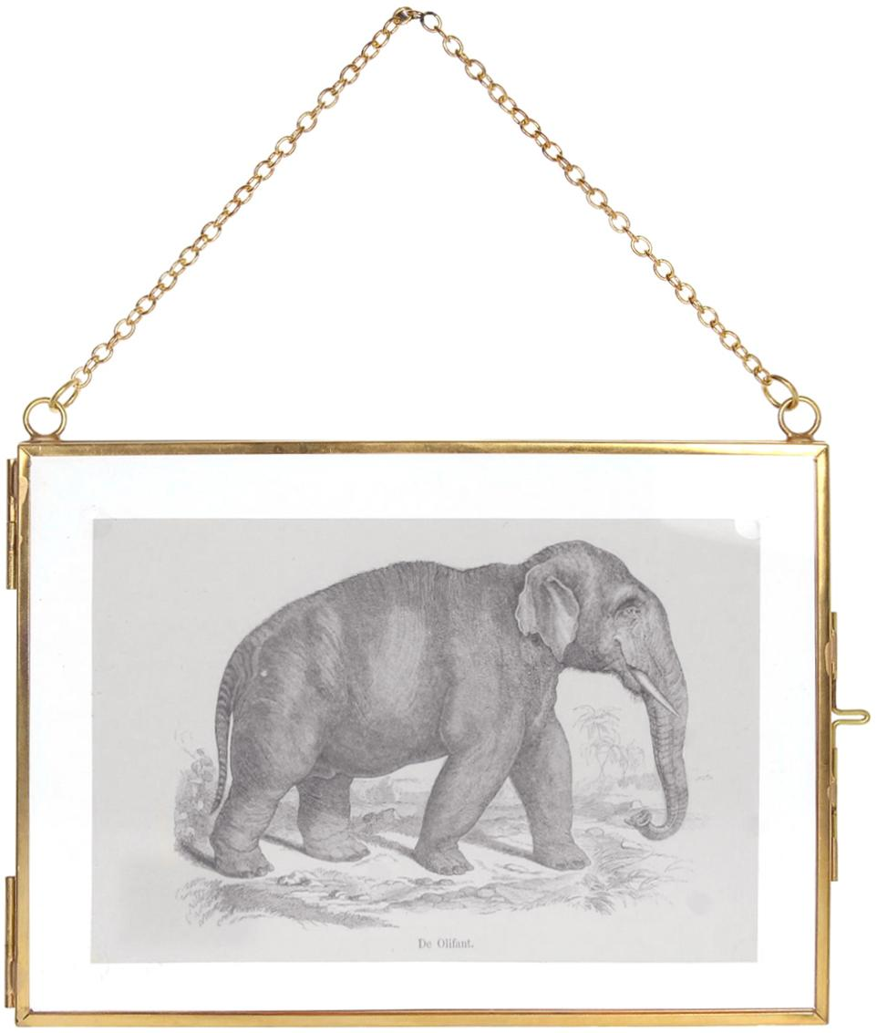 Portafoto da parete ottonato Linetti, Ottone, 10 x 15 cm