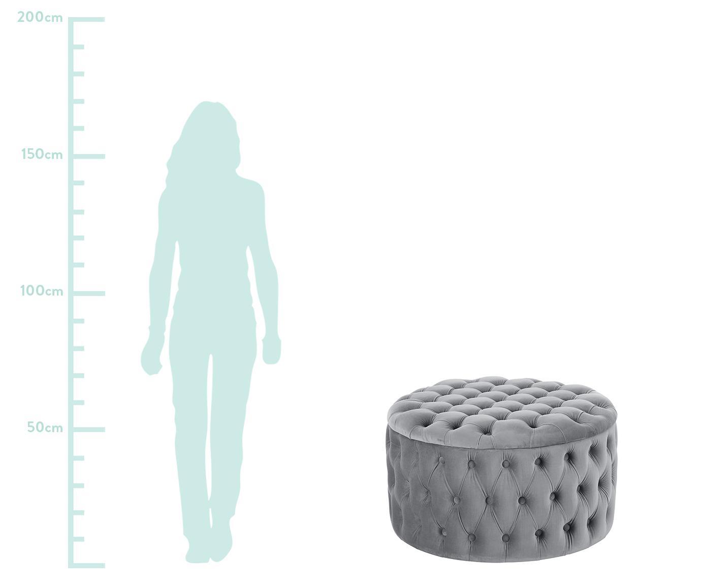 XL Samt-Hocker Chiara mit Stauraum, Bezug: Samt (Polyester) Der hoch, Korpus: Eukalyptusholz, Grau, ∅ 70 x H 42 cm