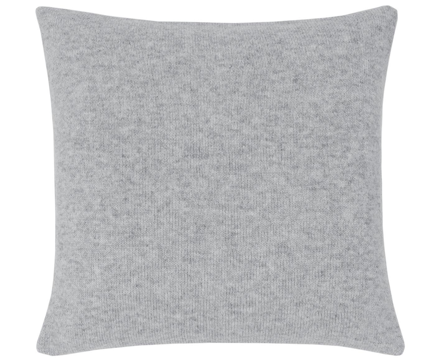 Federa arredo in maglia fine di cashmere Viviana, 70% cashmere, 30% lana merino, Grigio chiaro, Larg. 40 x Lung. 40 cm