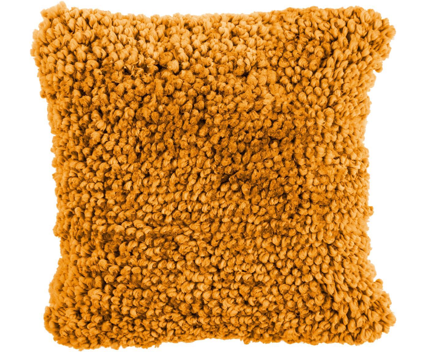 Flauschiges Kissen Oscar, mit Inlett, Bezug: 95% Baumwolle, 5% Acryl, Ockergelb, 50 x 50 cm