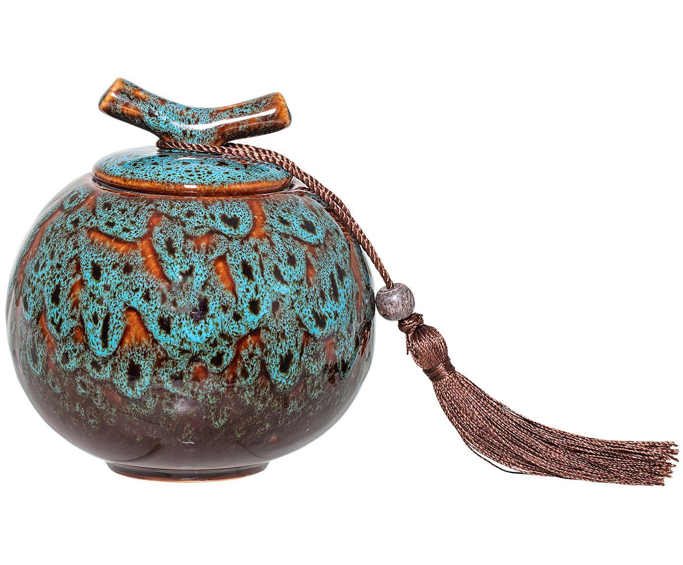 Contenitore con coperchio Ebba, Contenitore: gres, Tonalità turchesi, tonalità marroni Nappa: marrone rossiccio, Ø 11 x Alt. 13 cm
