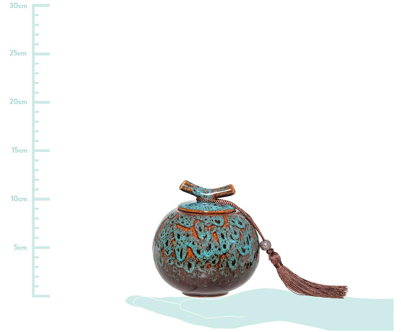 Aufbewahrungsdose Ebba, Dose: Steingut, Türkistöne, Brauntöne Quaste: Rotbraun, Ø 11 x H 13 cm