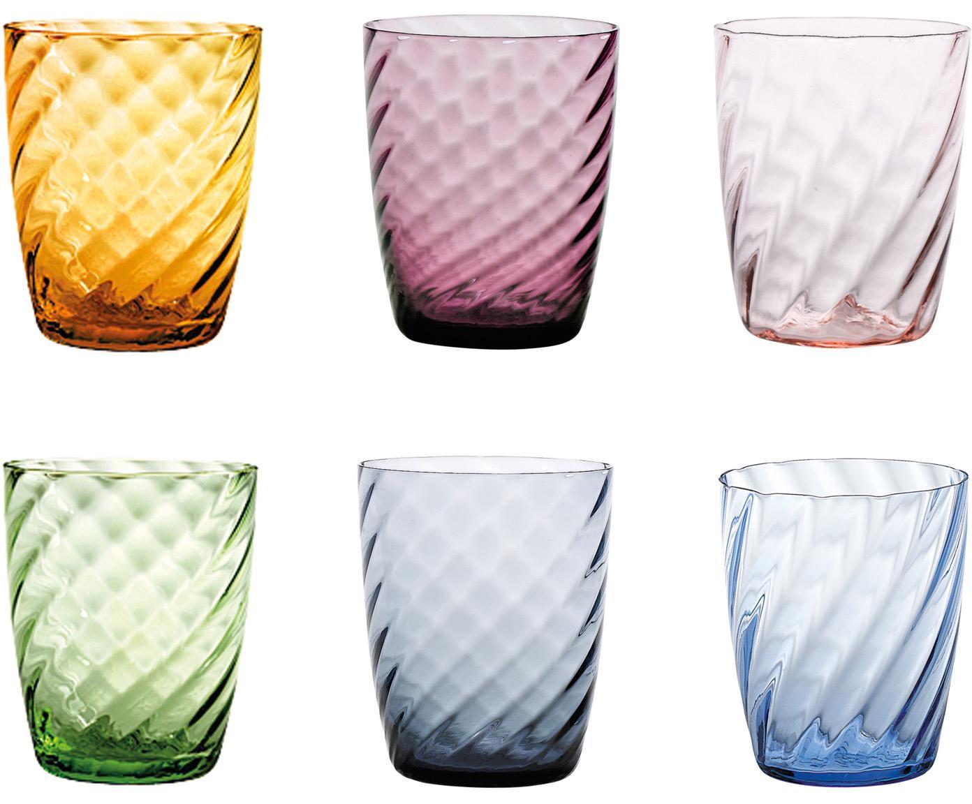 Vasos con relieve Torson, 6uds., Vidrio, Multicolor, Ø 8 x Al 10 cm