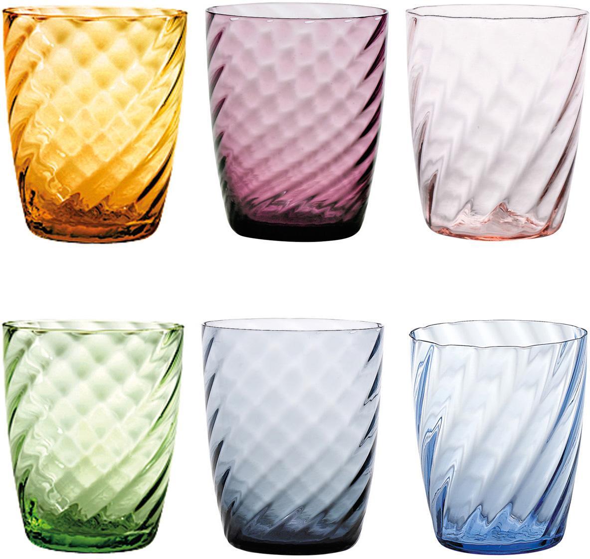 Mundgeblasene Wassergläser Torson in Bunt mit Relief, 6er-Set, Glas, Mehrfarbig, Ø 8 x H 10 cm