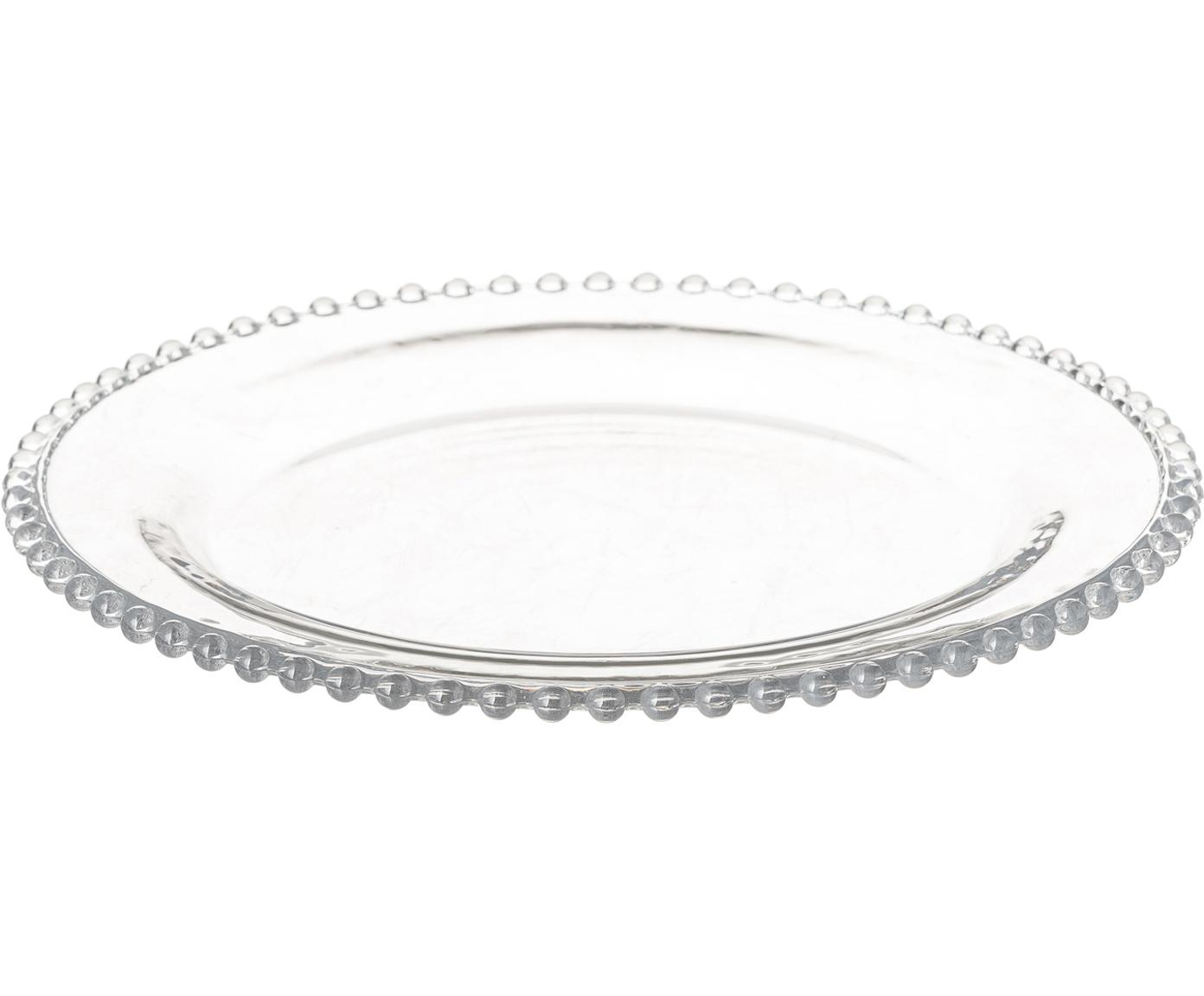 Dinerborden Perles, 2 stuks, Glas, Transparant, Ø 27 cm