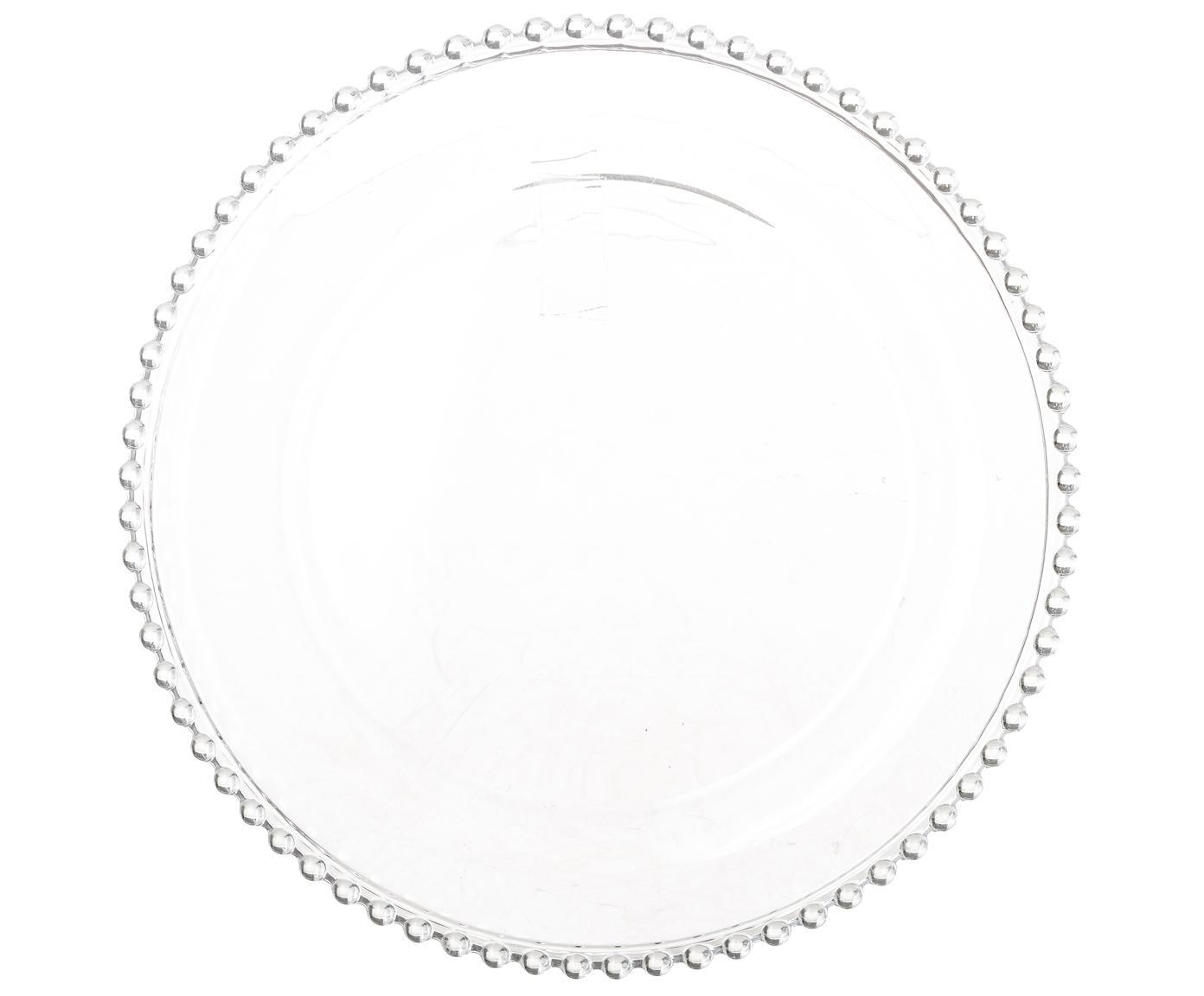 Glas-Speiseteller Perles, 2 Stück, Glas, Transparent, Ø 27 cm