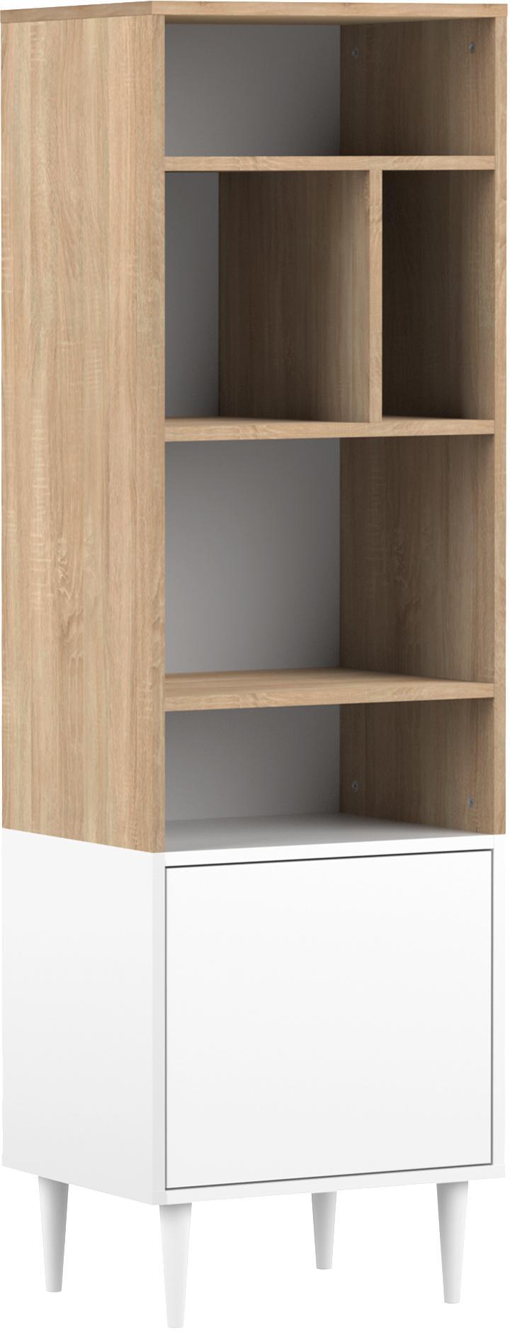 Schmales Standregal Horizon im Skandi Design, Korpus: Spanplatte, melaminbeschi, Füße: Buchenholz, massiv, lacki, Eichenholz, Weiß, 47 x 153 cm