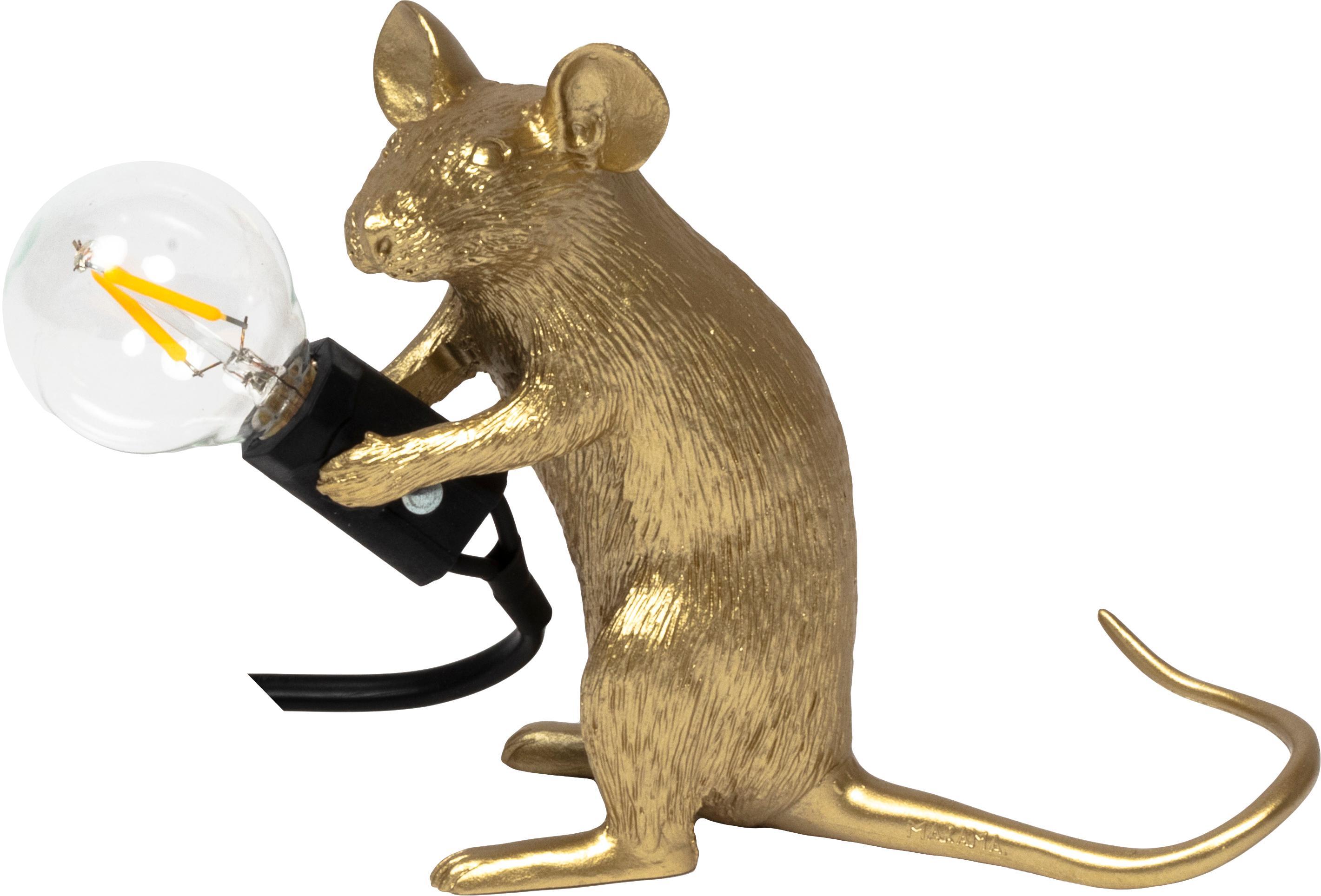 Design-Tischlampe Mouse, Goldfarben, 5 x 13 cm