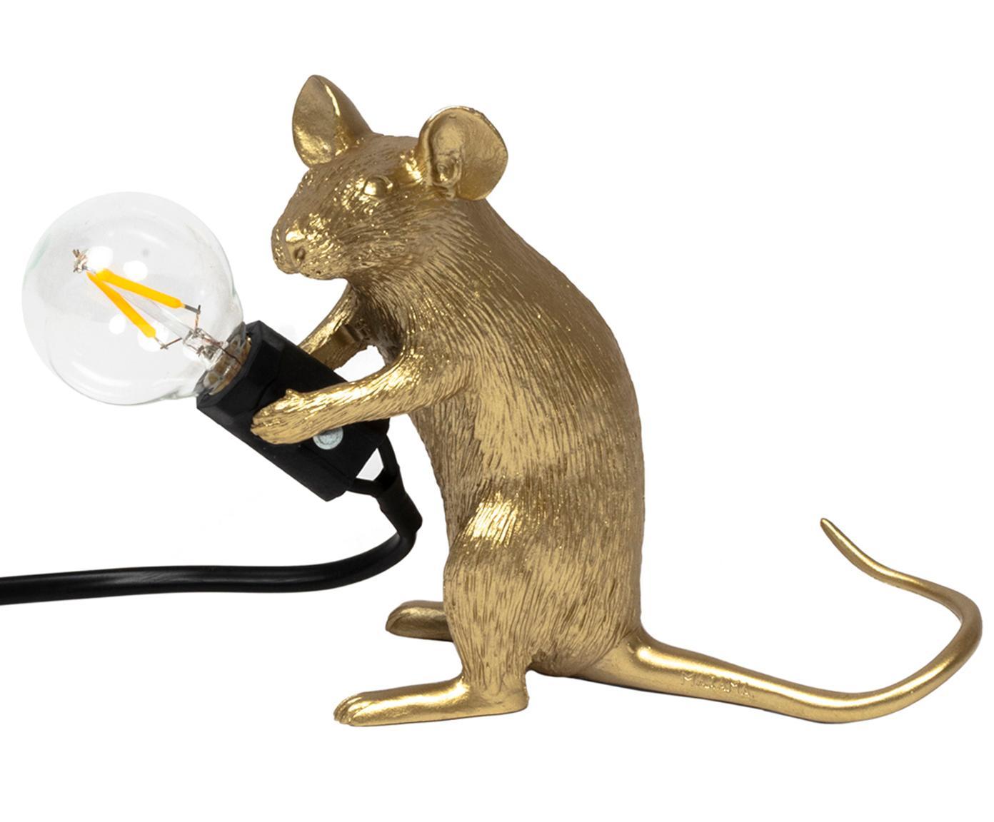 Lámpara de mesa de diseño Mouse, Cable: plástico, Dorado, An 5 x Al 13